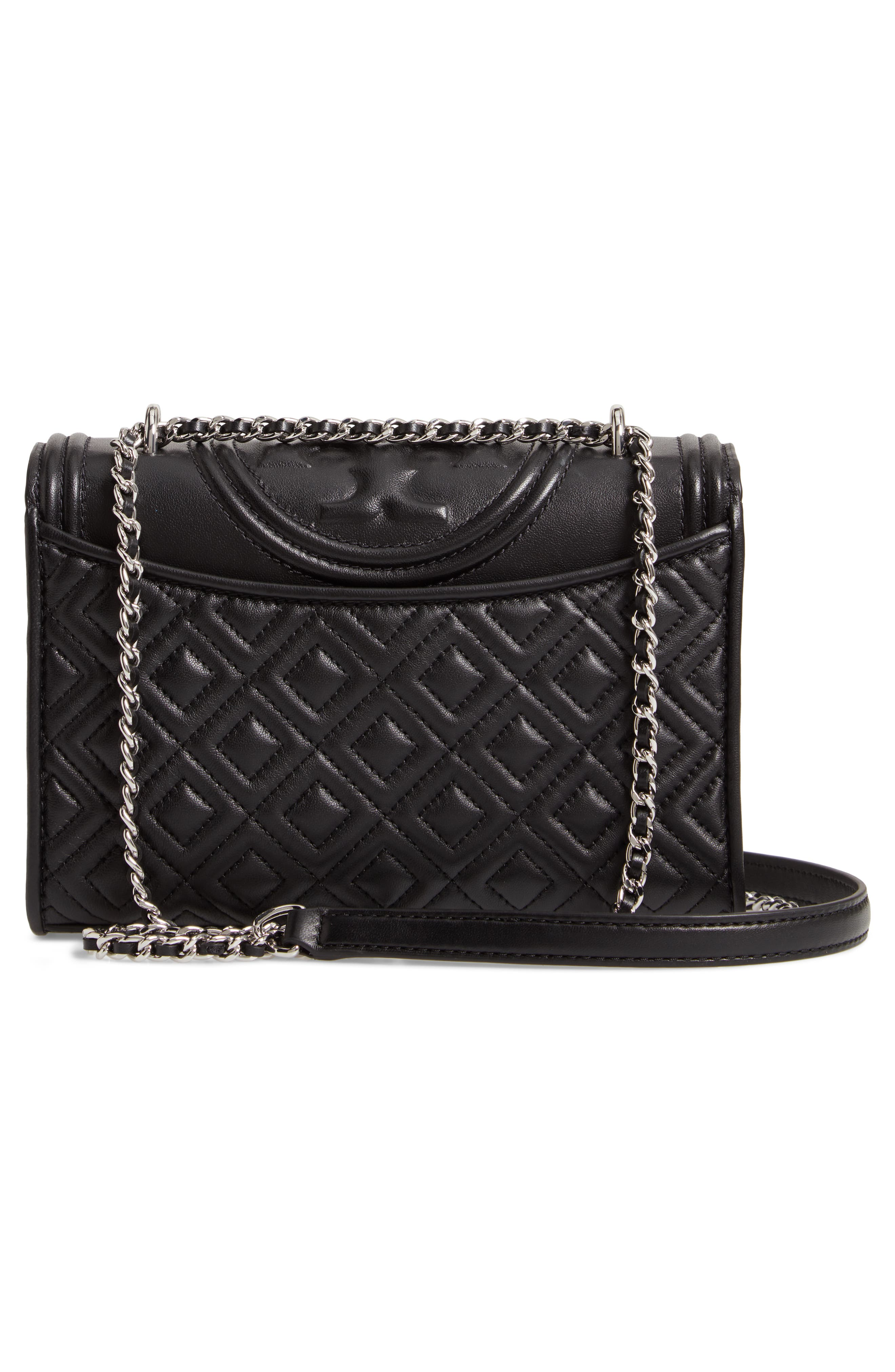 TORY BURCH, Small Fleming Leather Convertible Shoulder Bag, Alternate thumbnail 4, color, BLACK / SILVER
