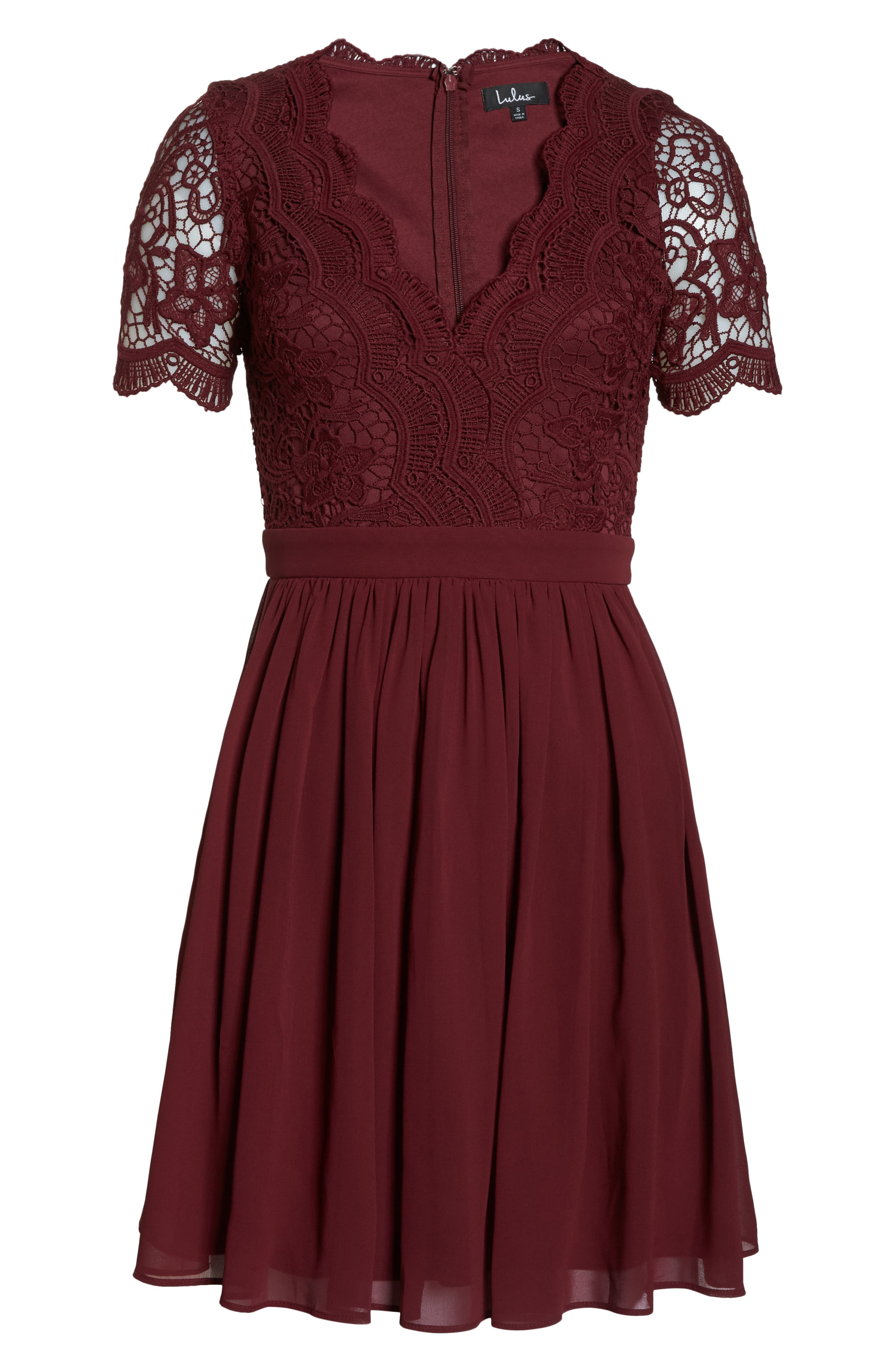 LULUS, Angel in Disguise Lace & Chiffon Party Dress, Alternate thumbnail 7, color, BURGUNDY