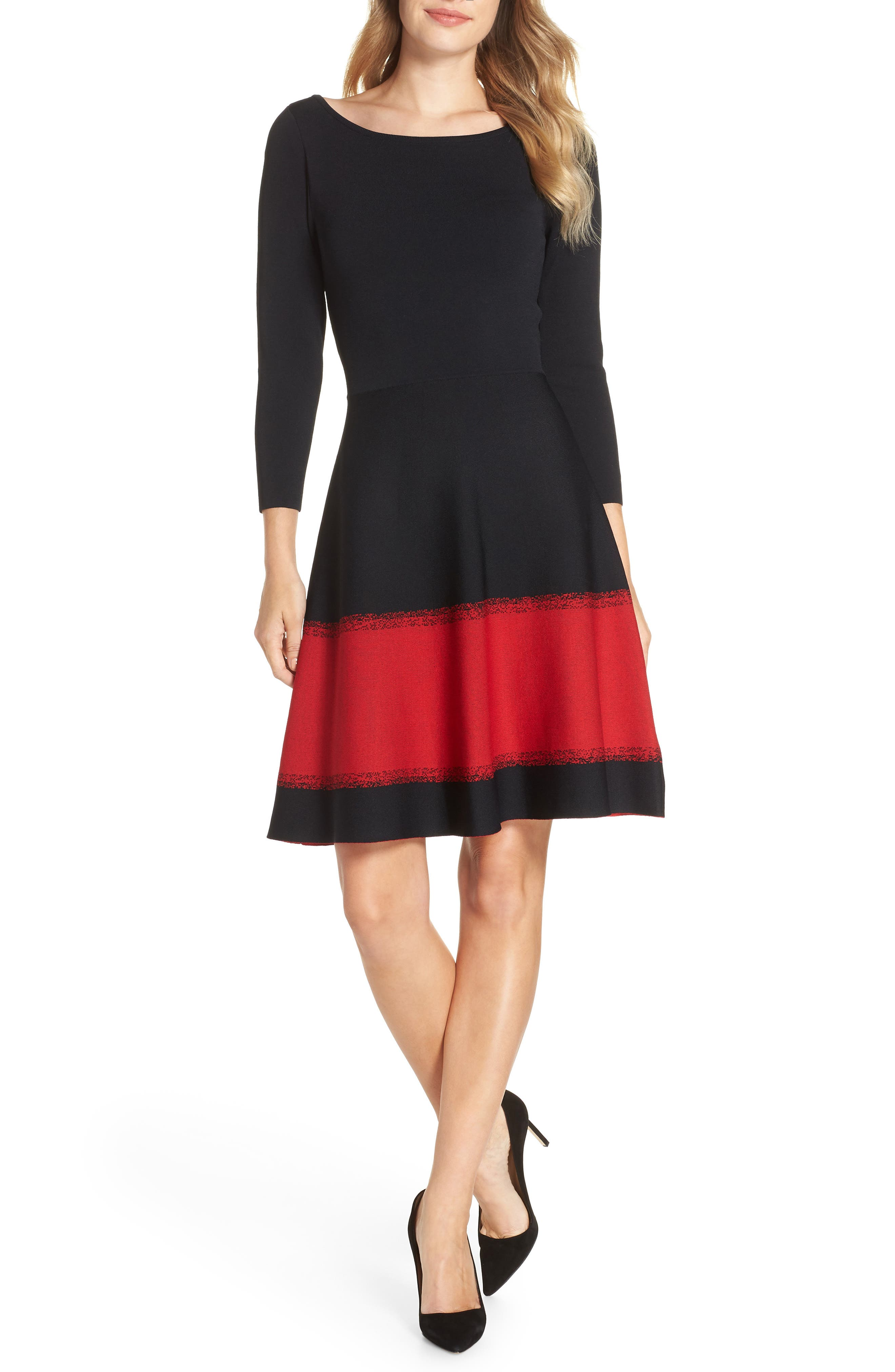 ELIZA J Contrast Stripe Fit & Flare Dress, Main, color, 001