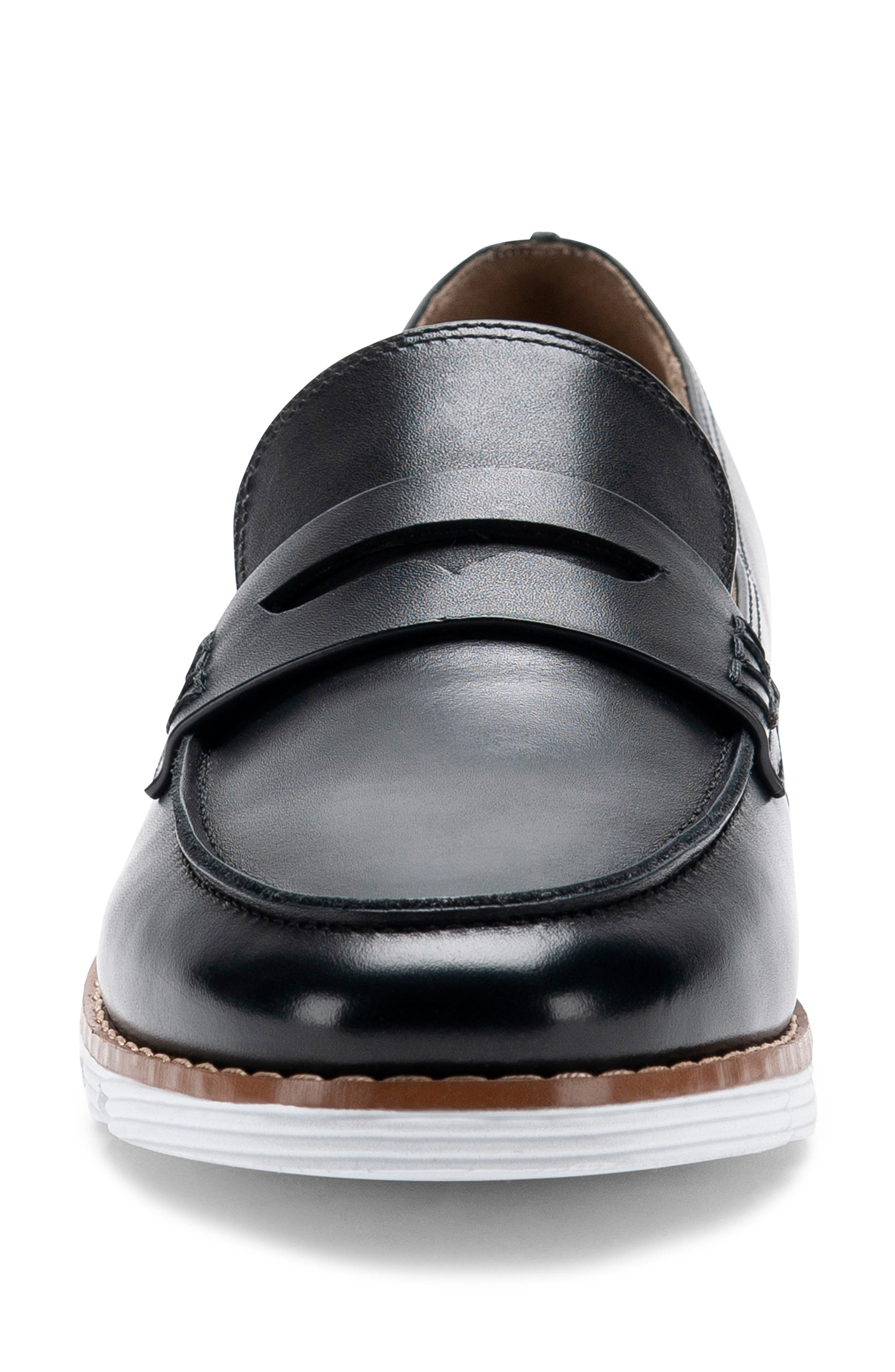BLONDO, Waterproof Penny Loafer, Alternate thumbnail 4, color, BLACK LEATHER
