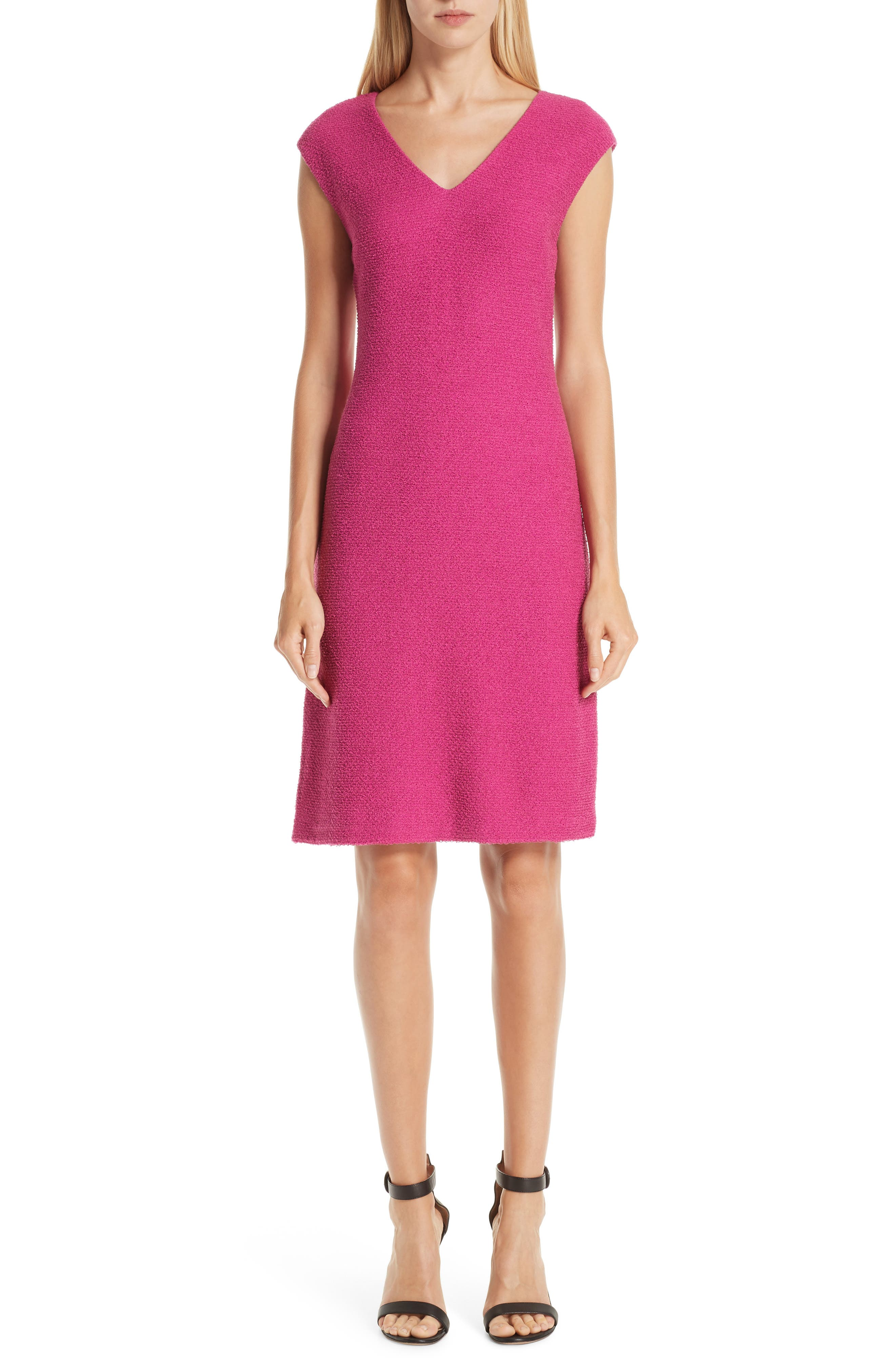 ST. JOHN COLLECTION Refined Knit Dress, Main, color, CAMELLIA