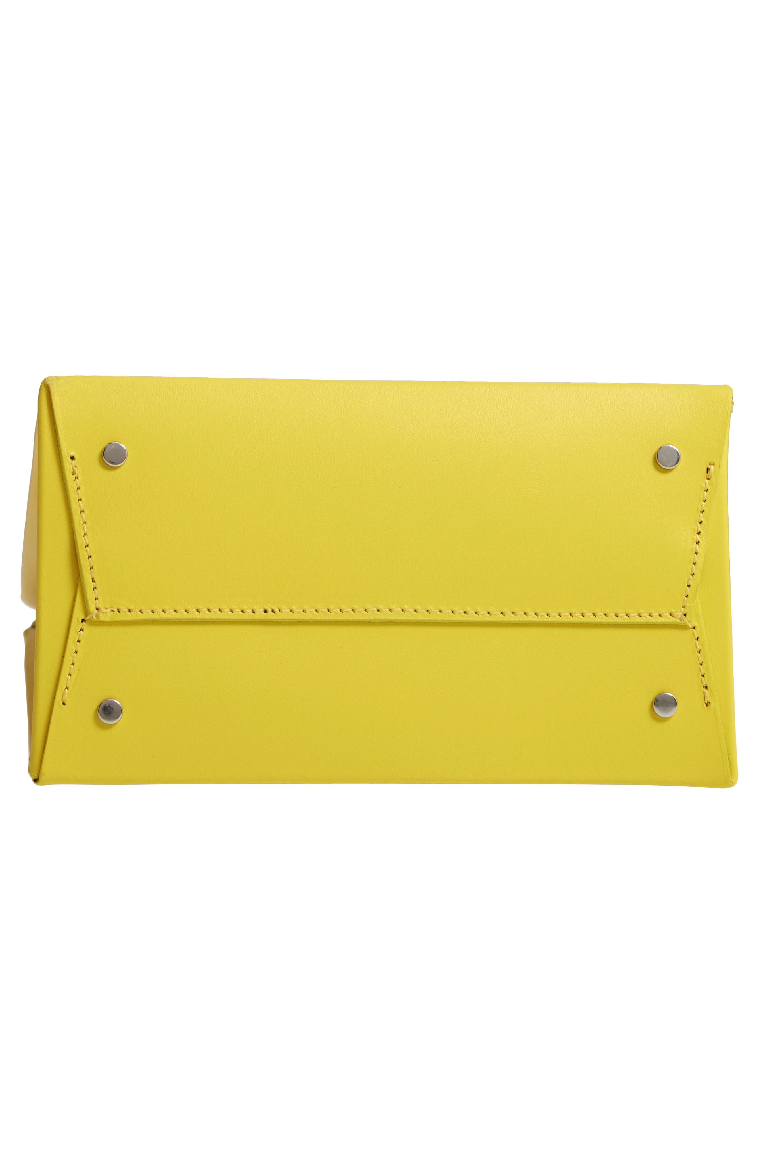 MEDEA, Prima Tall Calfskin Leather Bag, Alternate thumbnail 6, color, YELLOW