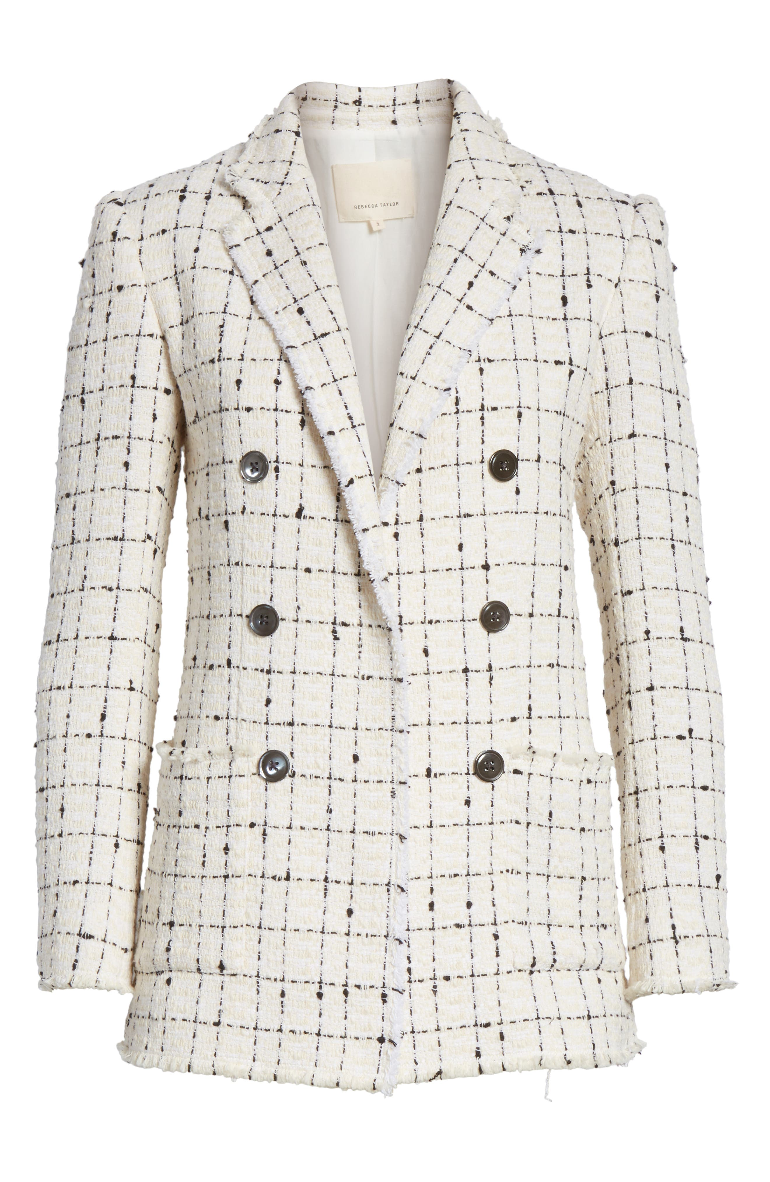 REBECCA TAYLOR, Windowpane Plaid Tweed Double-Breasted Blazer, Alternate thumbnail 5, color, 902