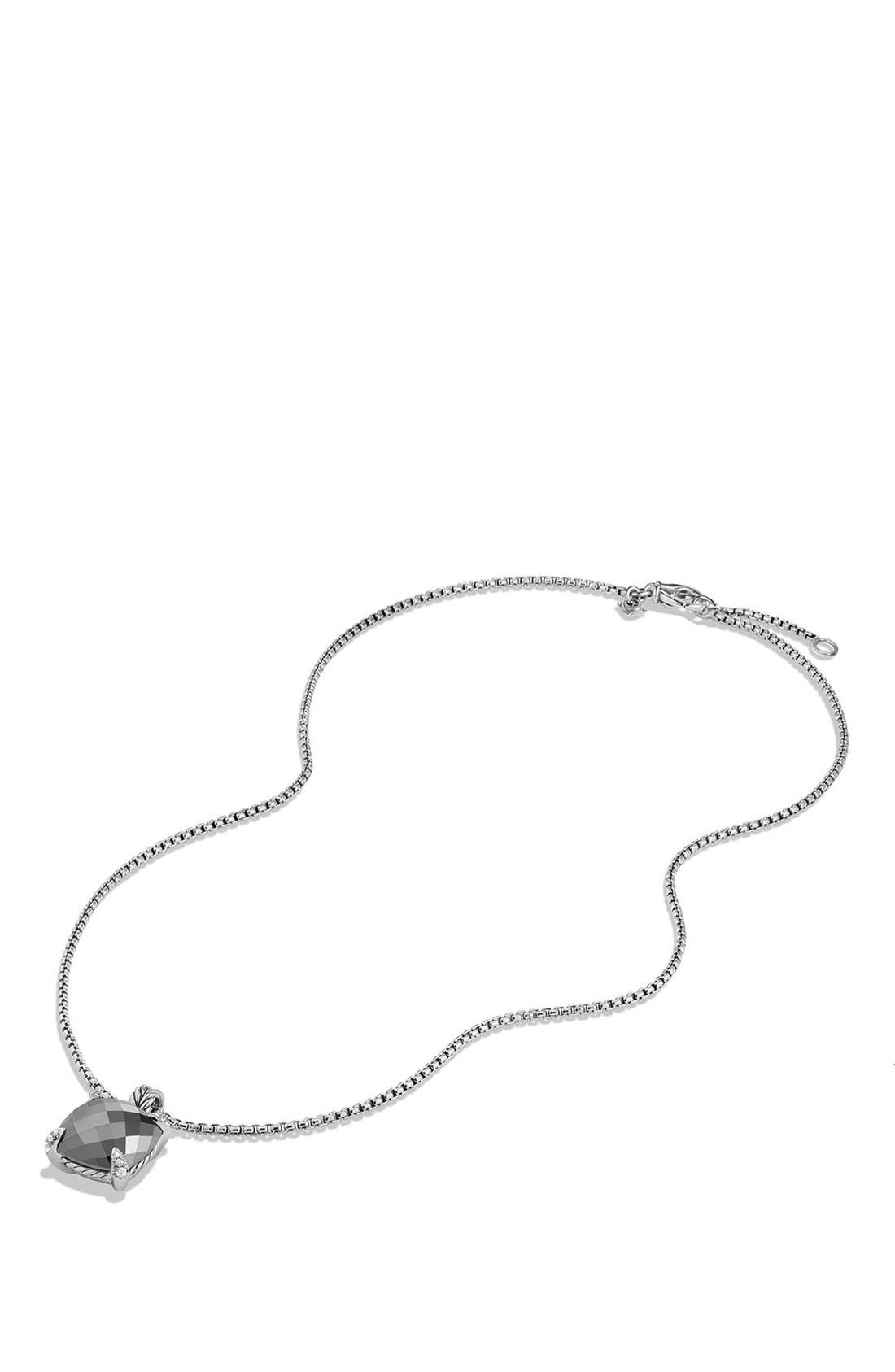 DAVID YURMAN, 'Châtelaine' Pendant Necklace with Semiprecious Stone and Diamonds, Alternate thumbnail 3, color, SILVER/ HEMATINE