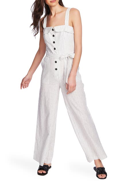 1.state Suits BUTTON FRONT CANOPY STRIPE JUMPSUIT