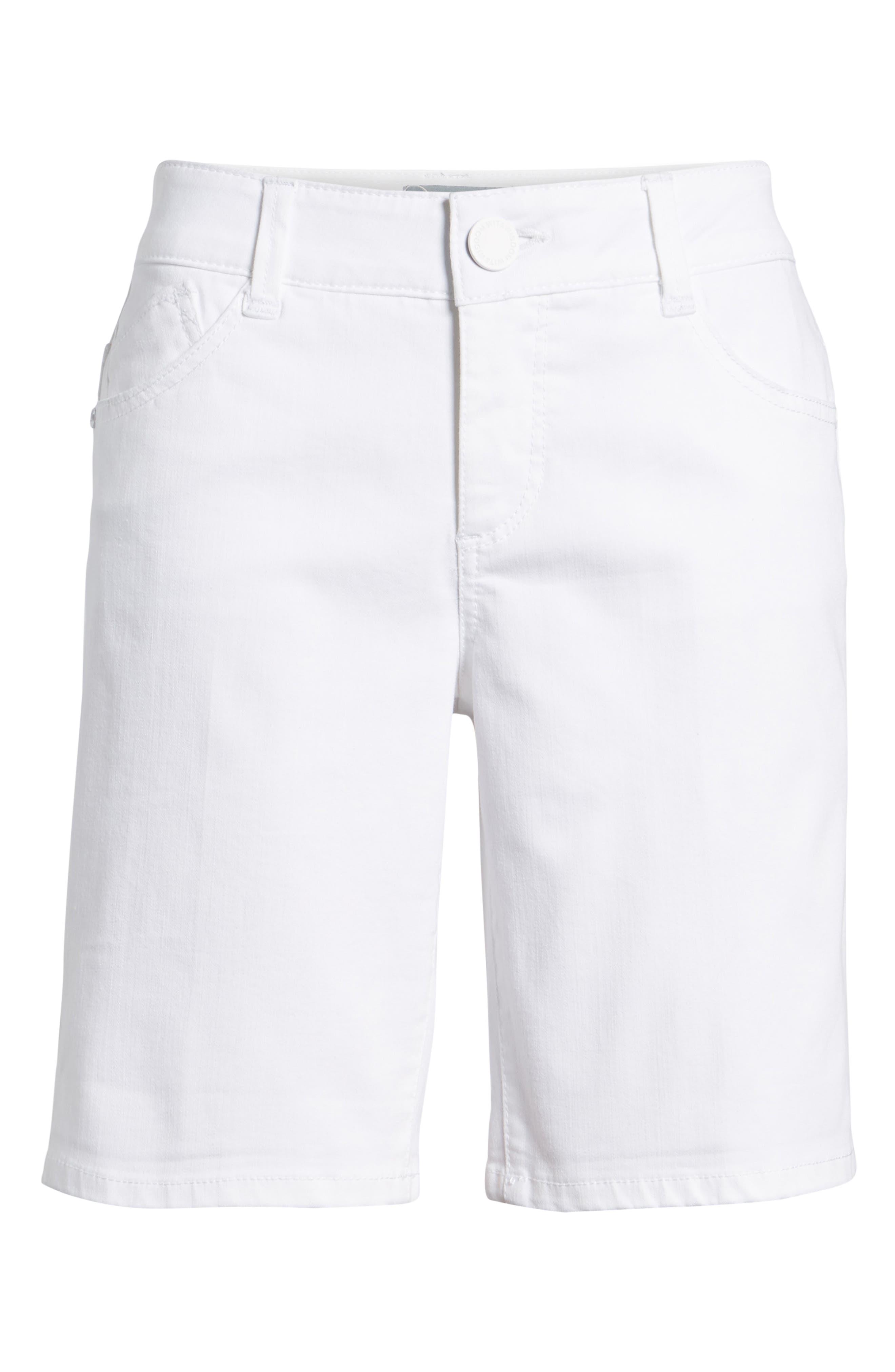 WIT & WISDOM, Ab-Solution White Denim Shorts, Alternate thumbnail 7, color, OPTIC WHITE
