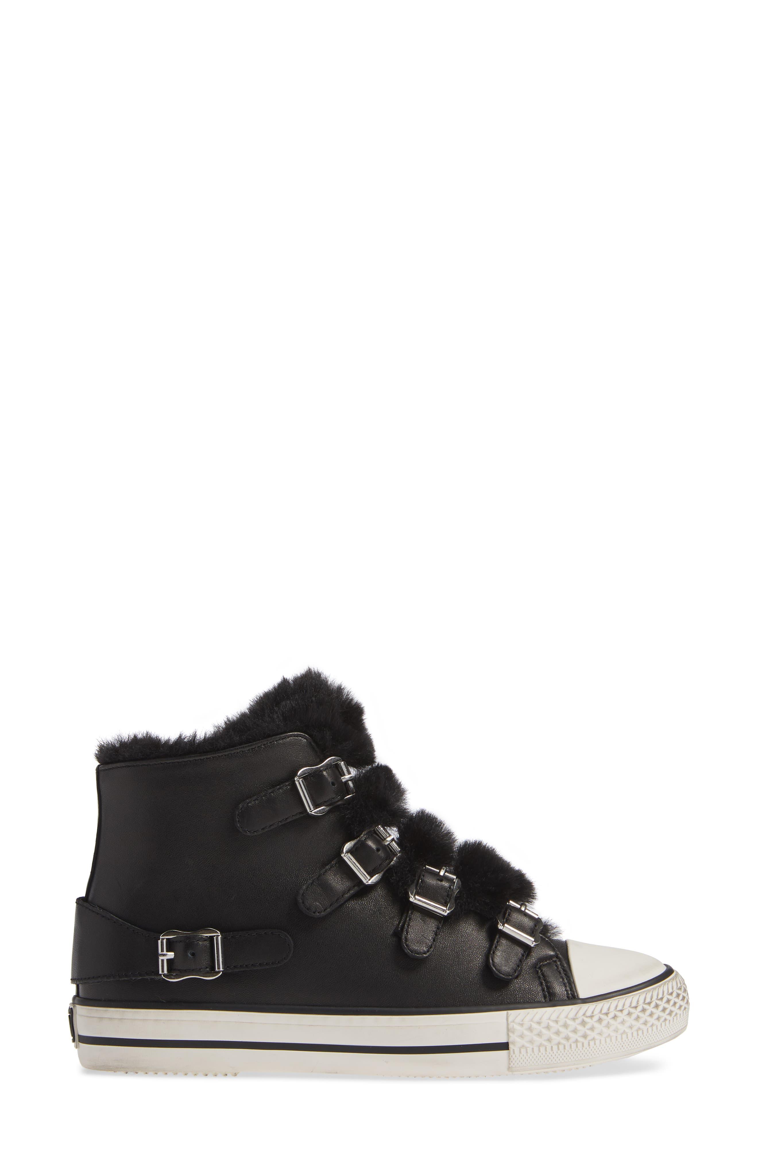 ASH, Valko High Top Sneaker, Alternate thumbnail 3, color, BLACK/ BLACK FAUX FUR