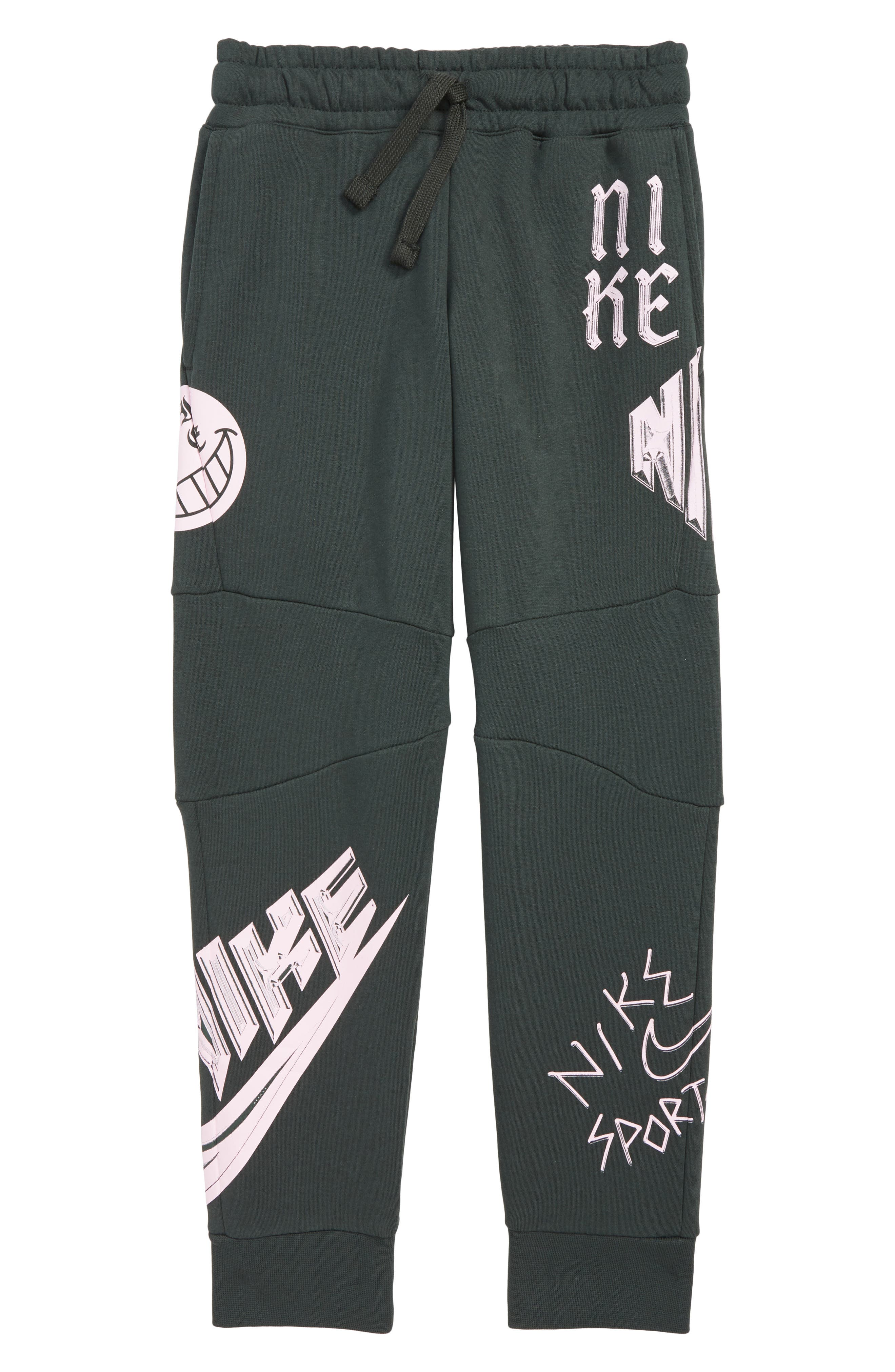 NIKE, Sportswear Energy GFX Fleece Jogger Pants, Main thumbnail 1, color, OUTDOOR GREEN/ PINK FOAM