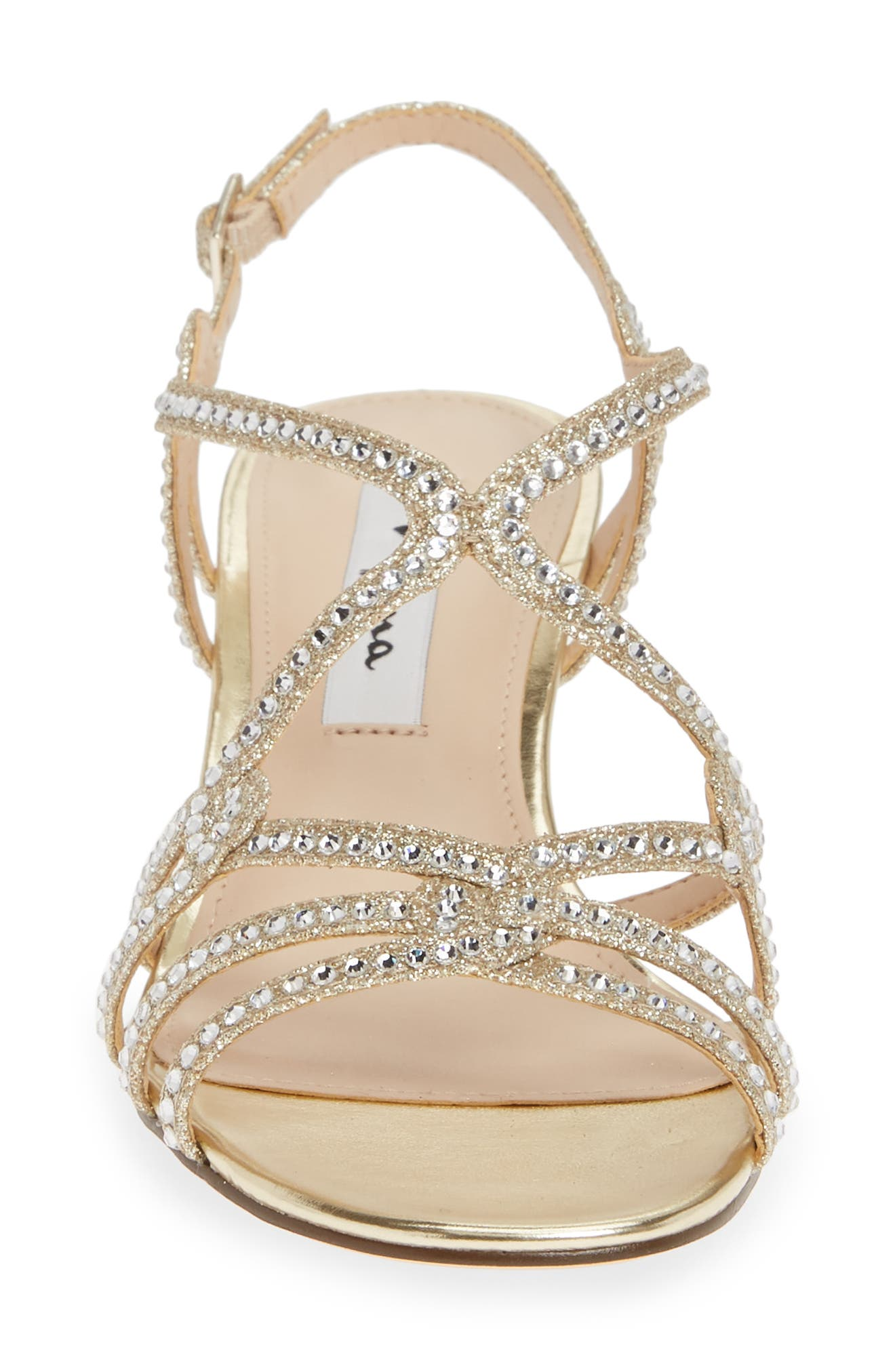 NINA, Fynlee Crystal Embellished Wedge Sandal, Alternate thumbnail 4, color, GOLD GLITTER FABRIC