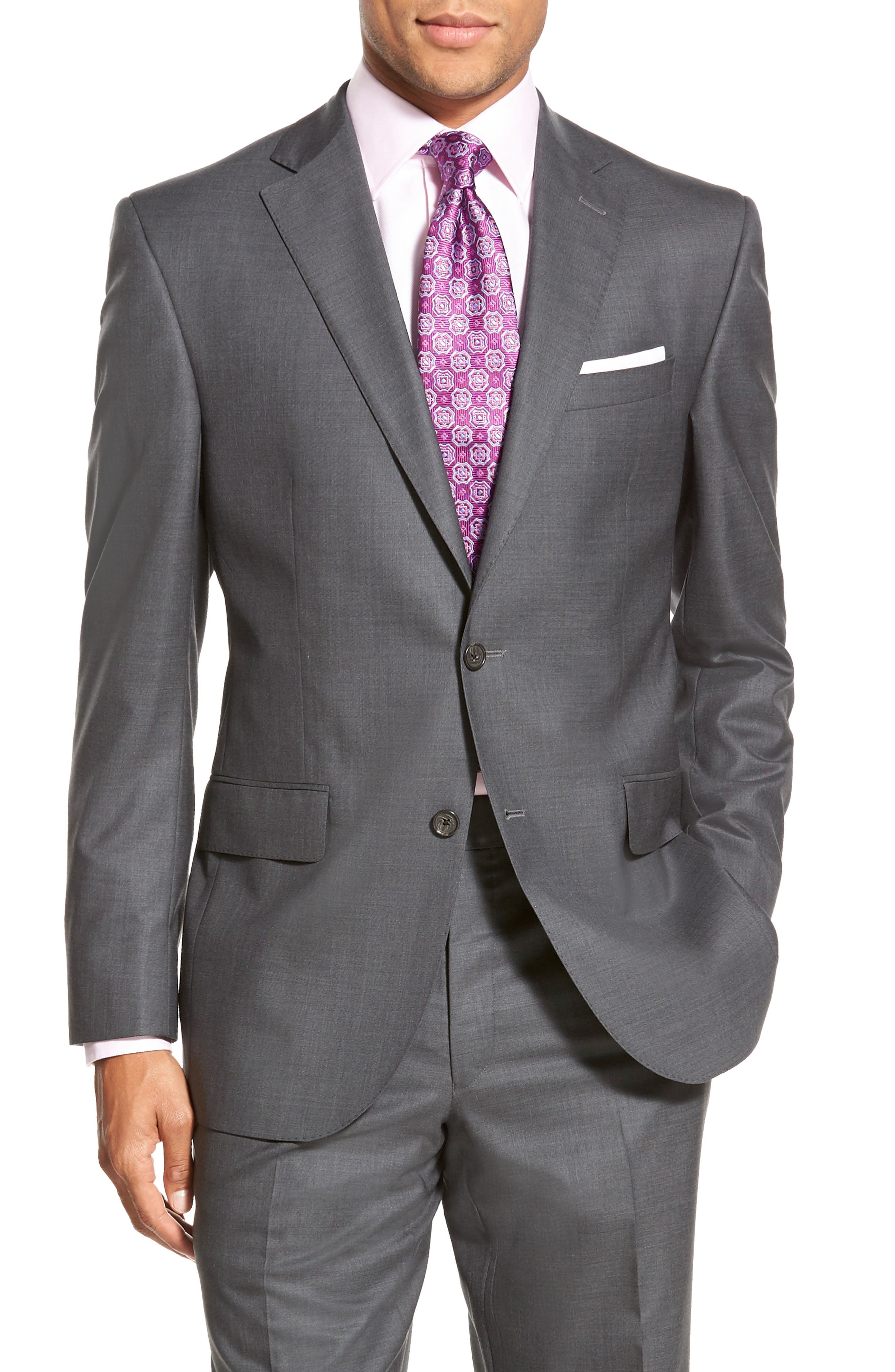 DAVID DONAHUE, Ryan Classic Fit Solid Wool Suit, Alternate thumbnail 6, color, GREY