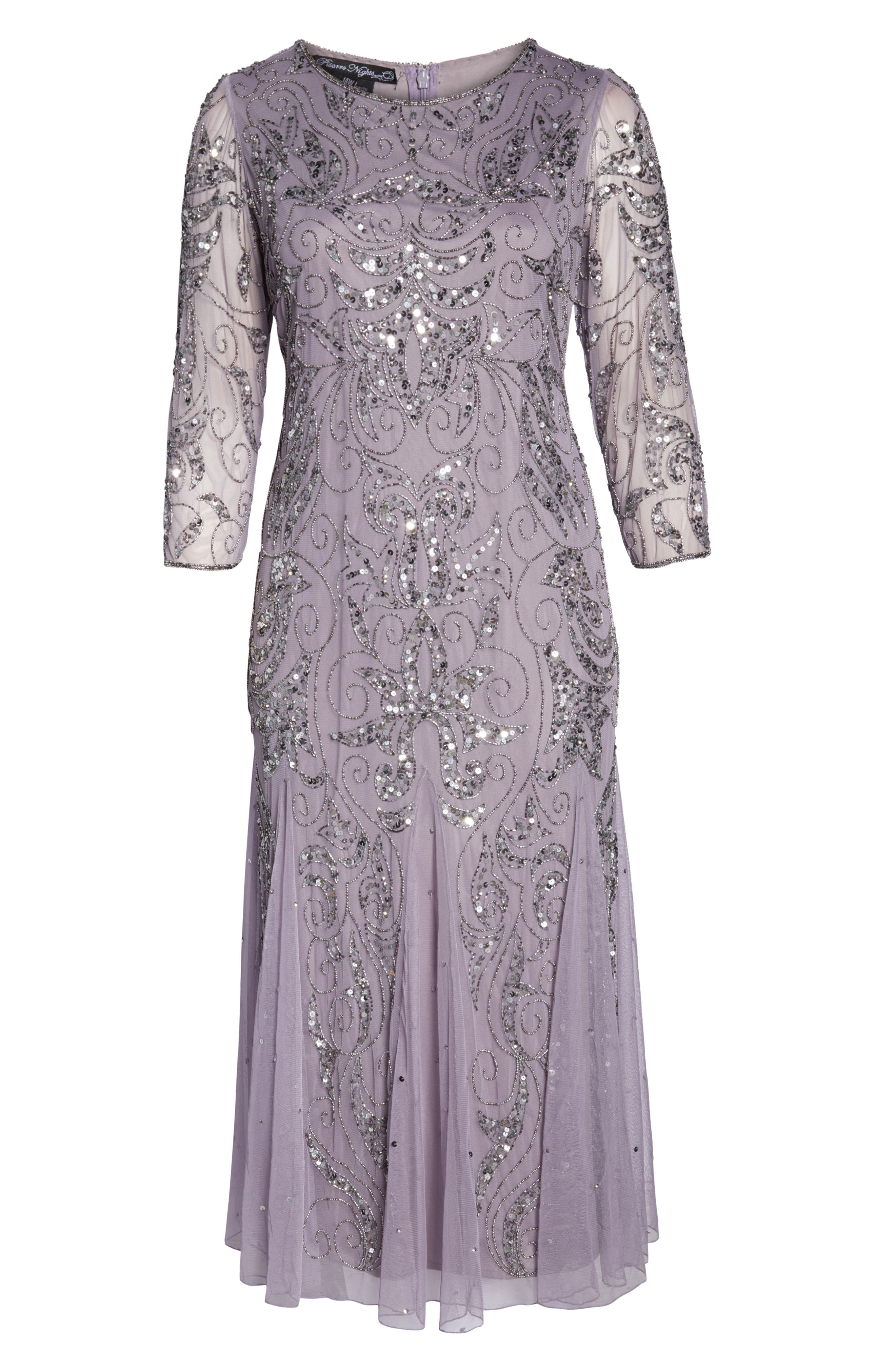 PISARRO NIGHTS, Embellished Three Quarter Sleeve Gown, Alternate thumbnail 7, color, NEW LAVENDER