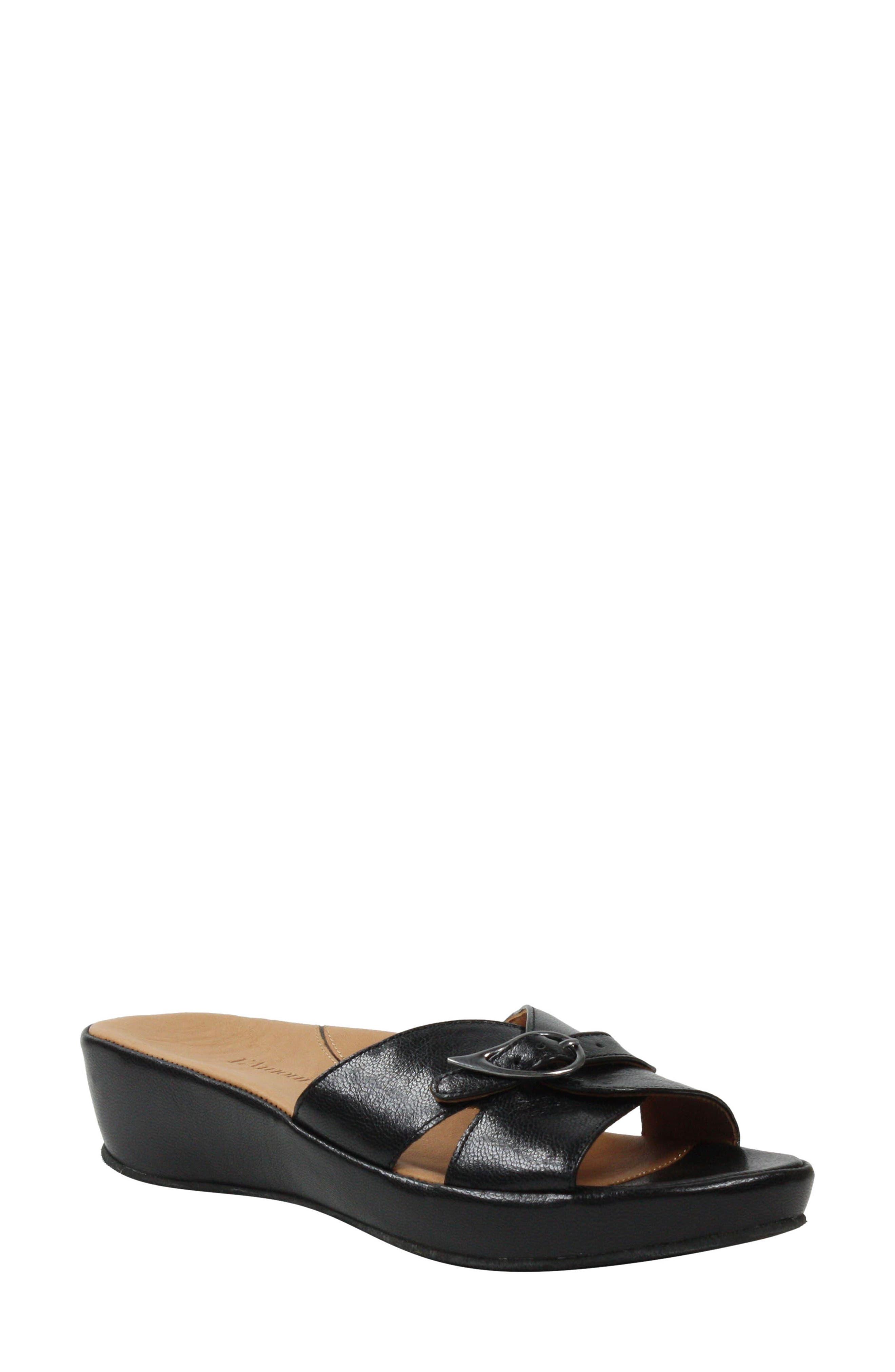 L'AMOUR DES PIEDS Cheyne Slide Sandal, Main, color, BLACK LEATHER