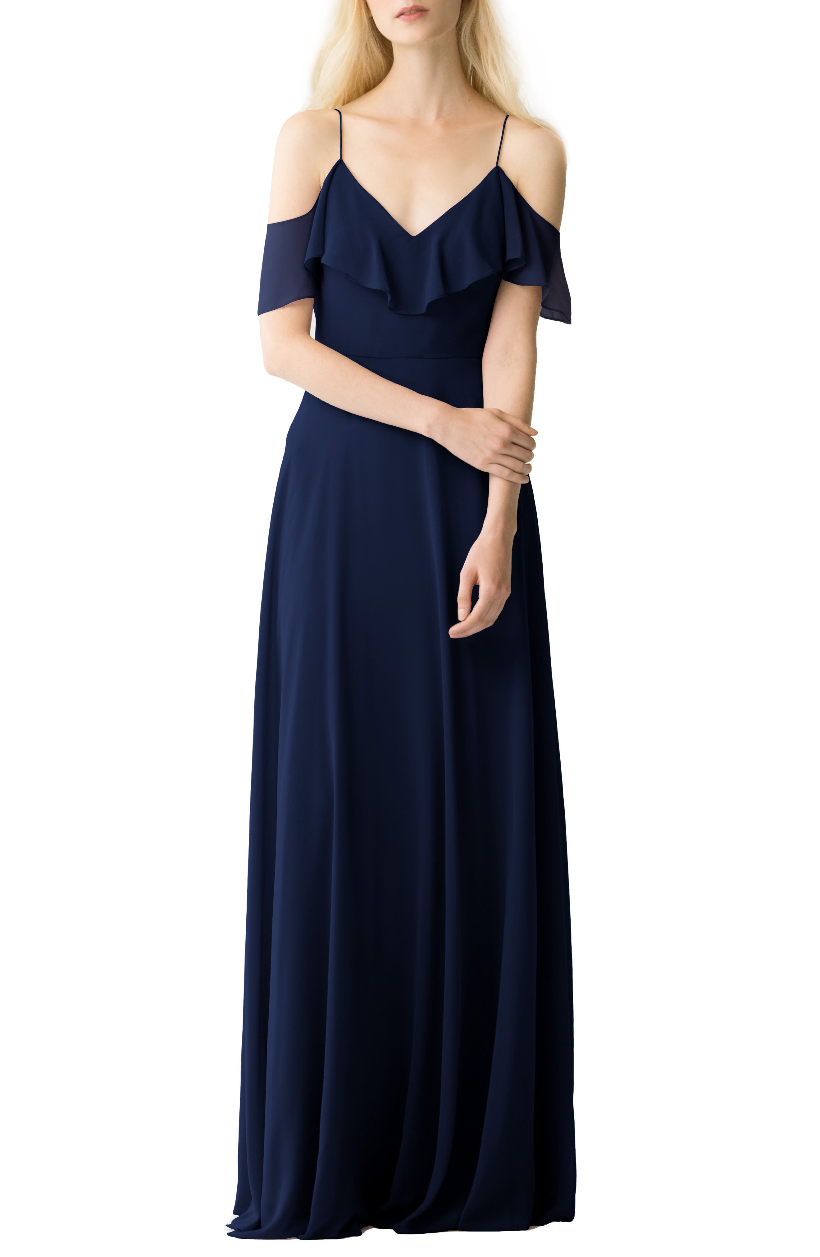 JENNY YOO, Cold Shoulder Chiffon Gown, Alternate thumbnail 6, color, NAVY