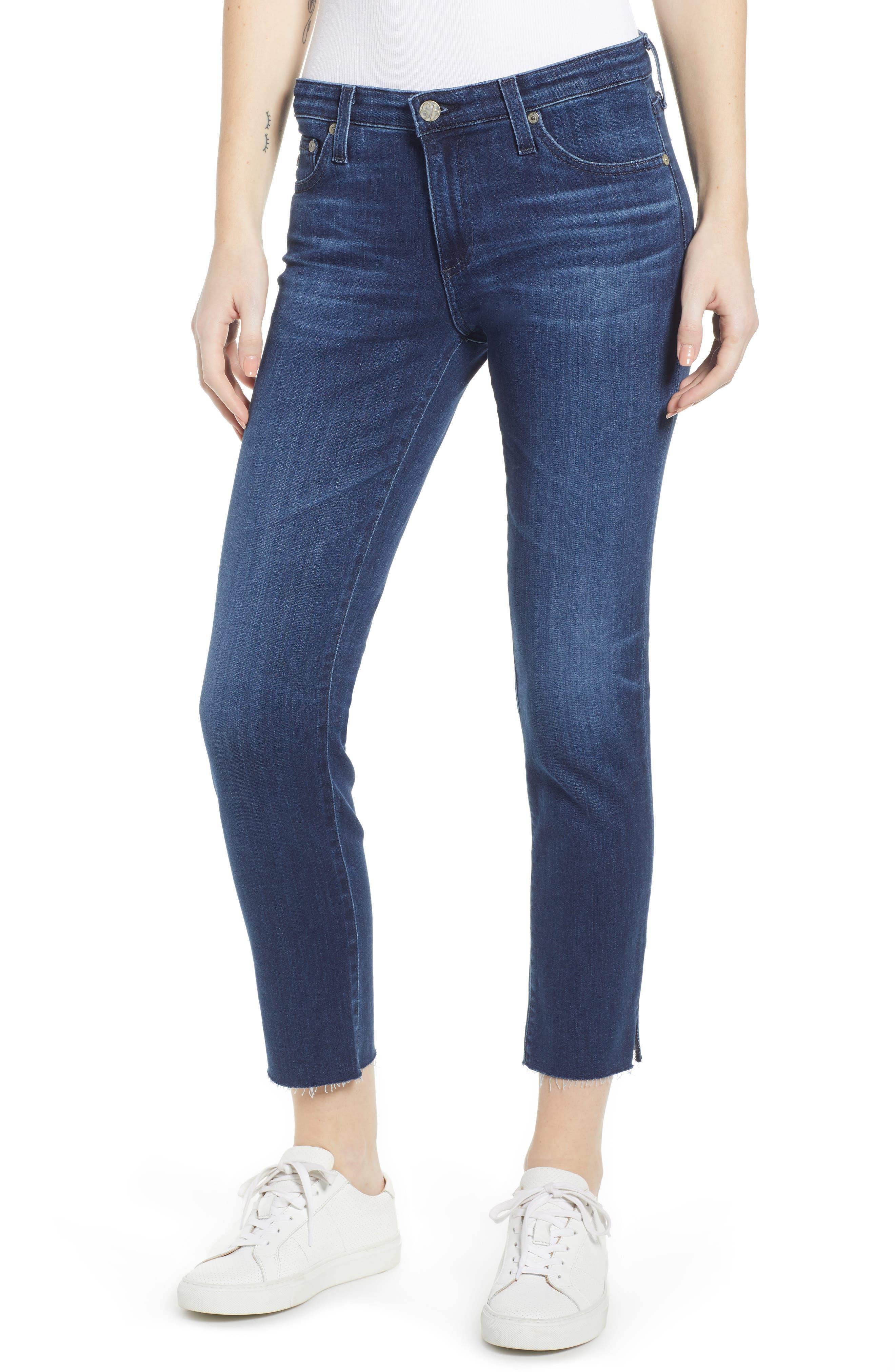 AG, The Prima Raw Hem Crop Jeans, Main thumbnail 1, color, 05Y BLUE ESSENCE