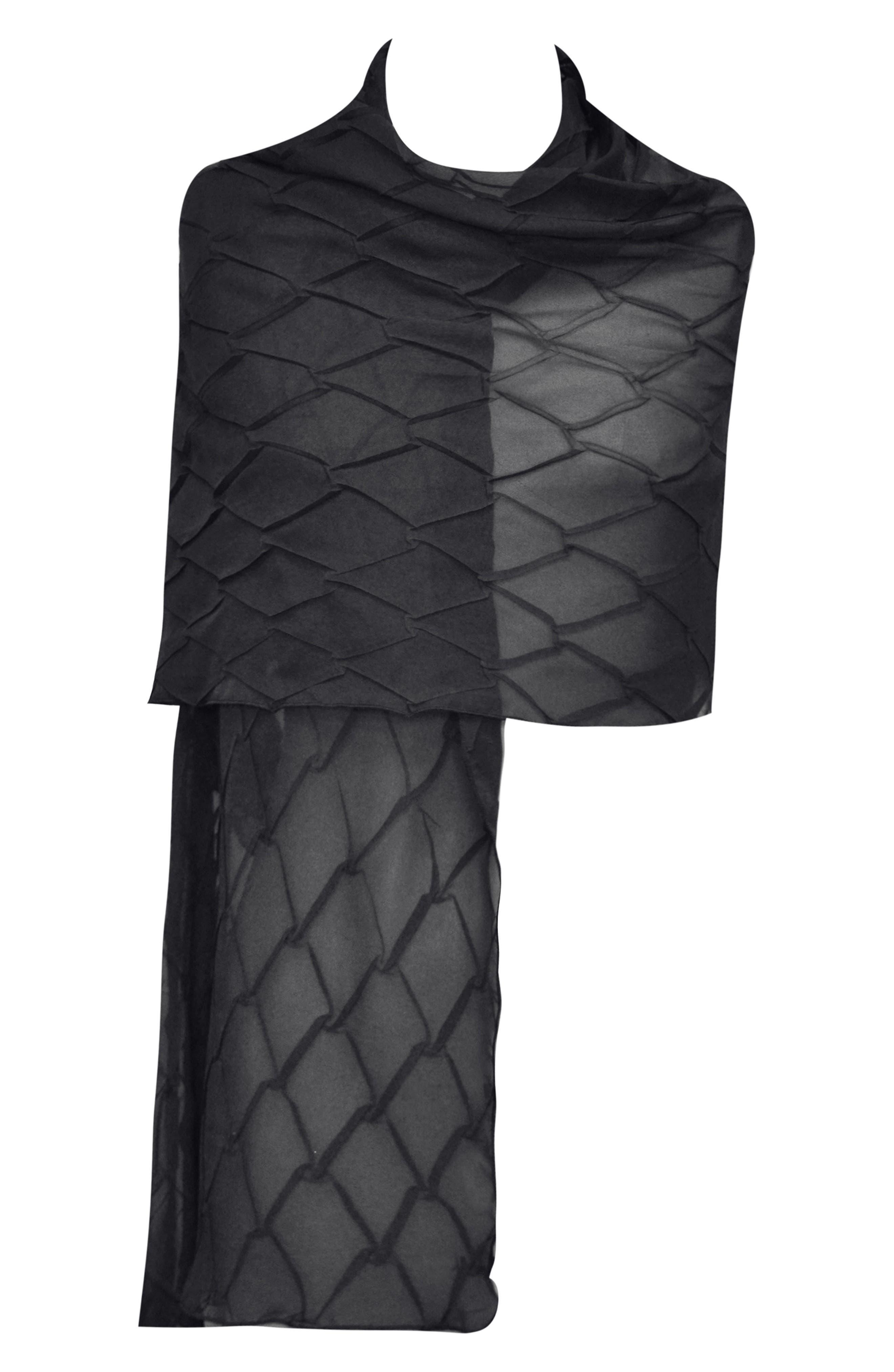 KOMAROV, Bead Trim Chiffon Dress with Wrap, Alternate thumbnail 8, color, BLACK