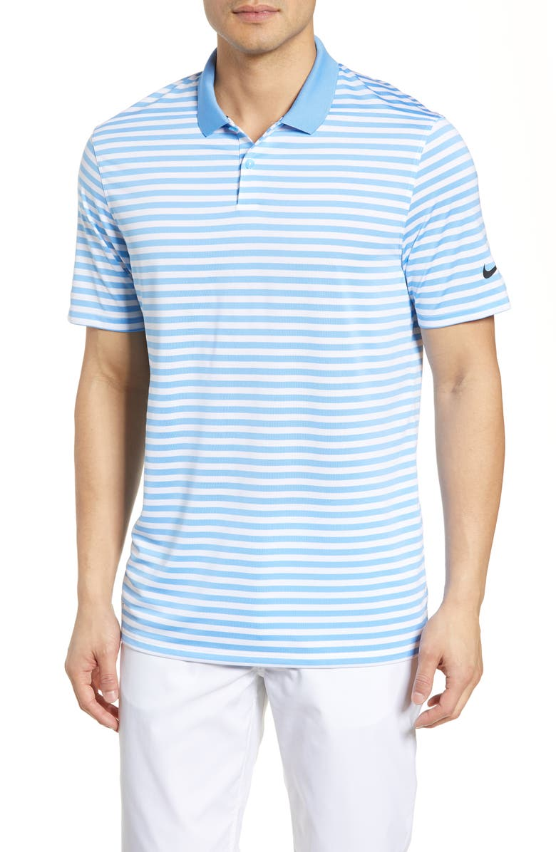 new style ff6ce 9aa9a Nike Victory Stripe Dri-Fit Golf Polo In University Blue  White Black