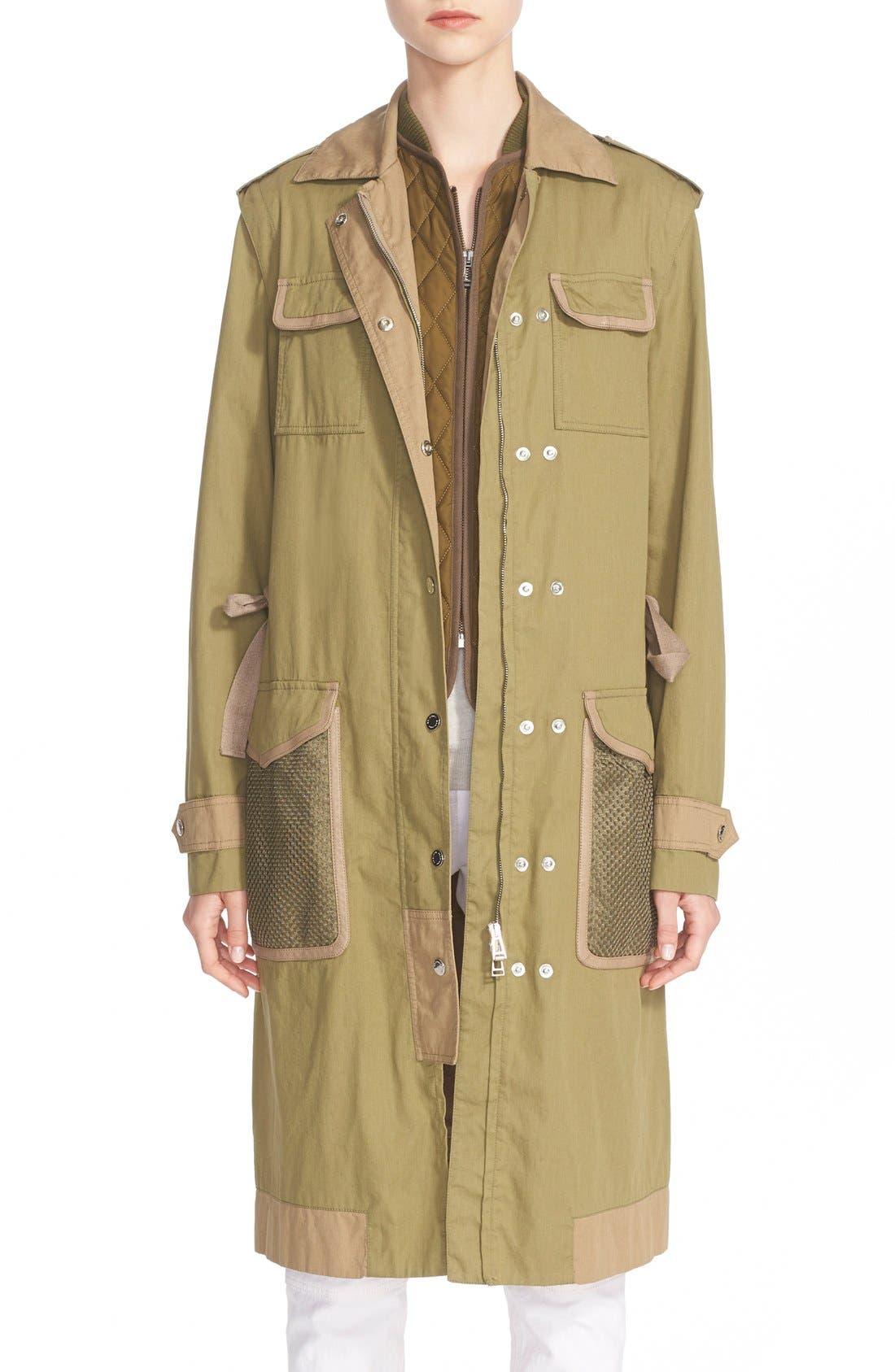 BELSTAFF, Leather Trim Tactical Cotton Gabardine Coat, Main thumbnail 1, color, 309