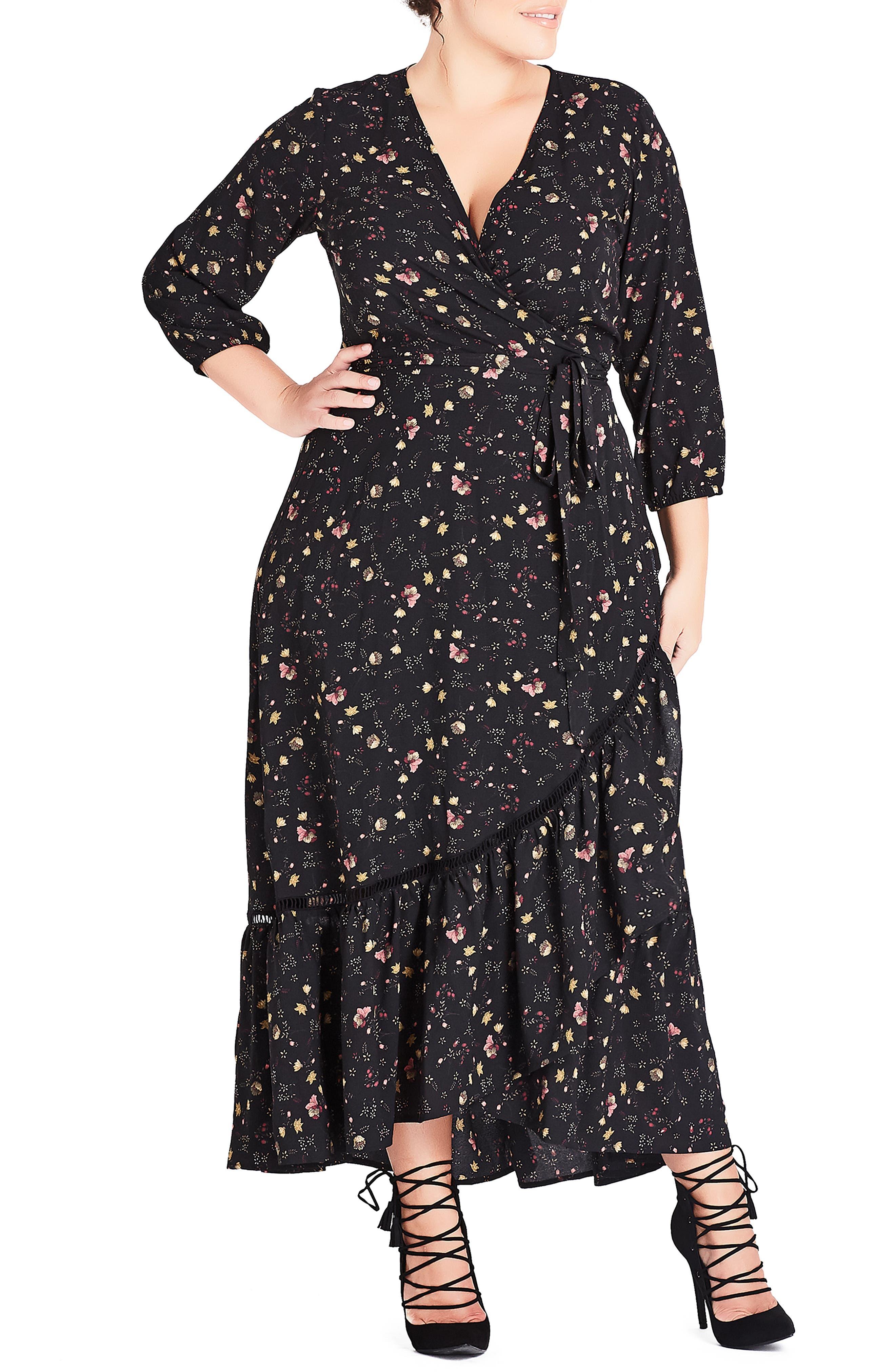 Plus Size City Chic Dreamy Ditsy Maxi Dress
