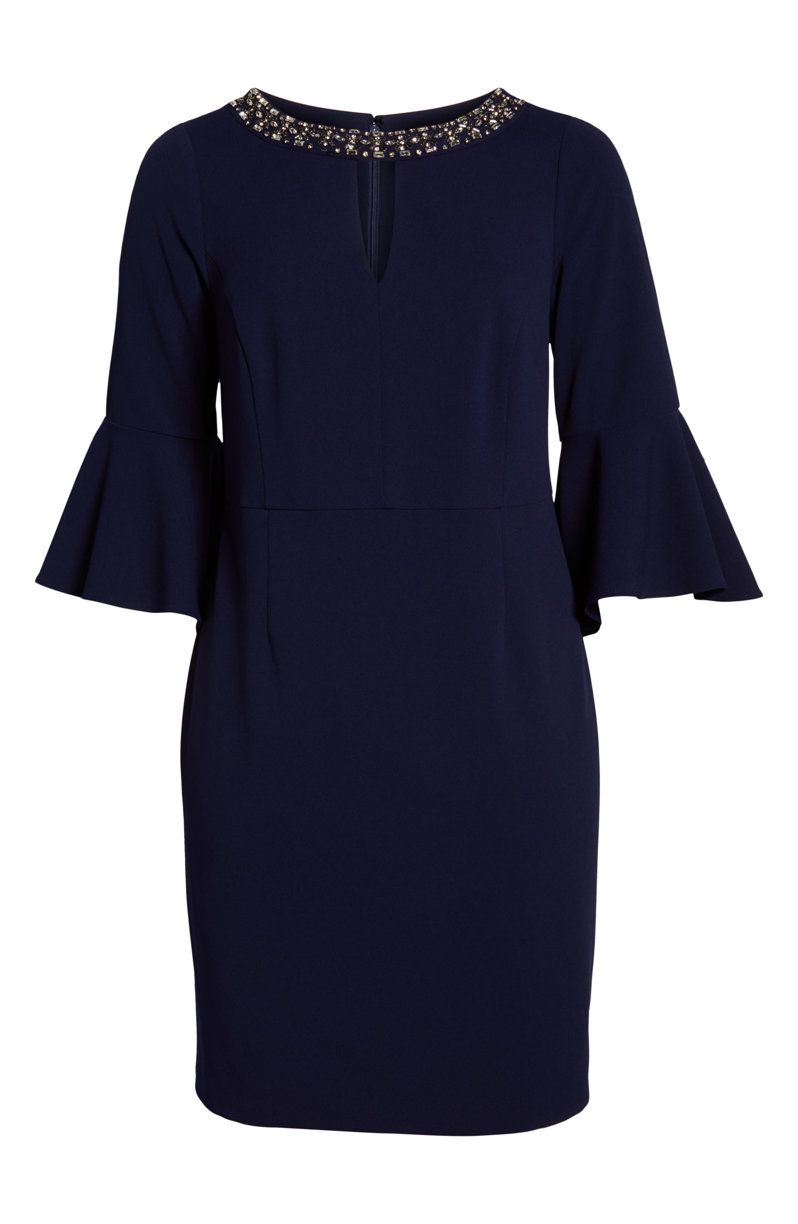 VINCE CAMUTO, Embellished Neck Sheath Dress, Alternate thumbnail 7, color, NAVY