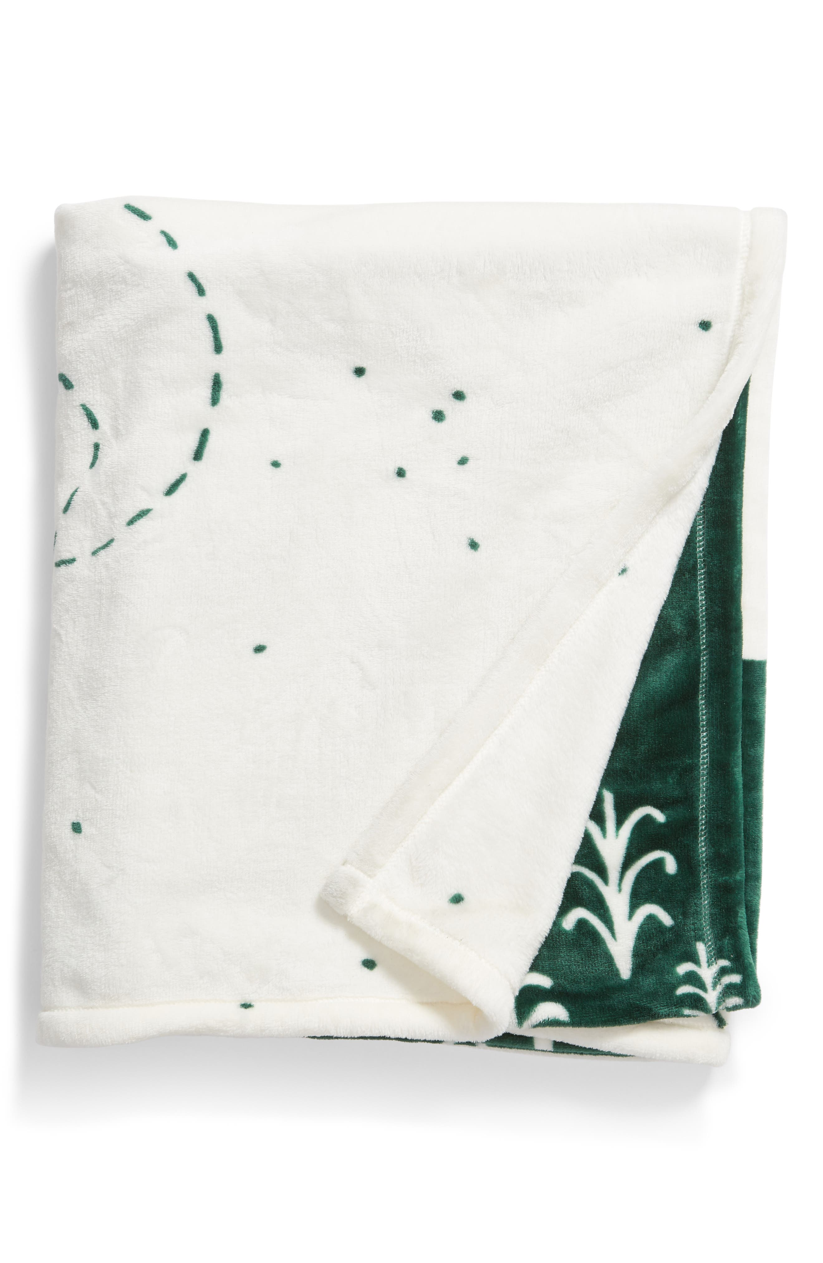 NORDSTROM AT HOME, Midnight Forest Plush Throw, Main thumbnail 1, color, GREEN DARK FOREST