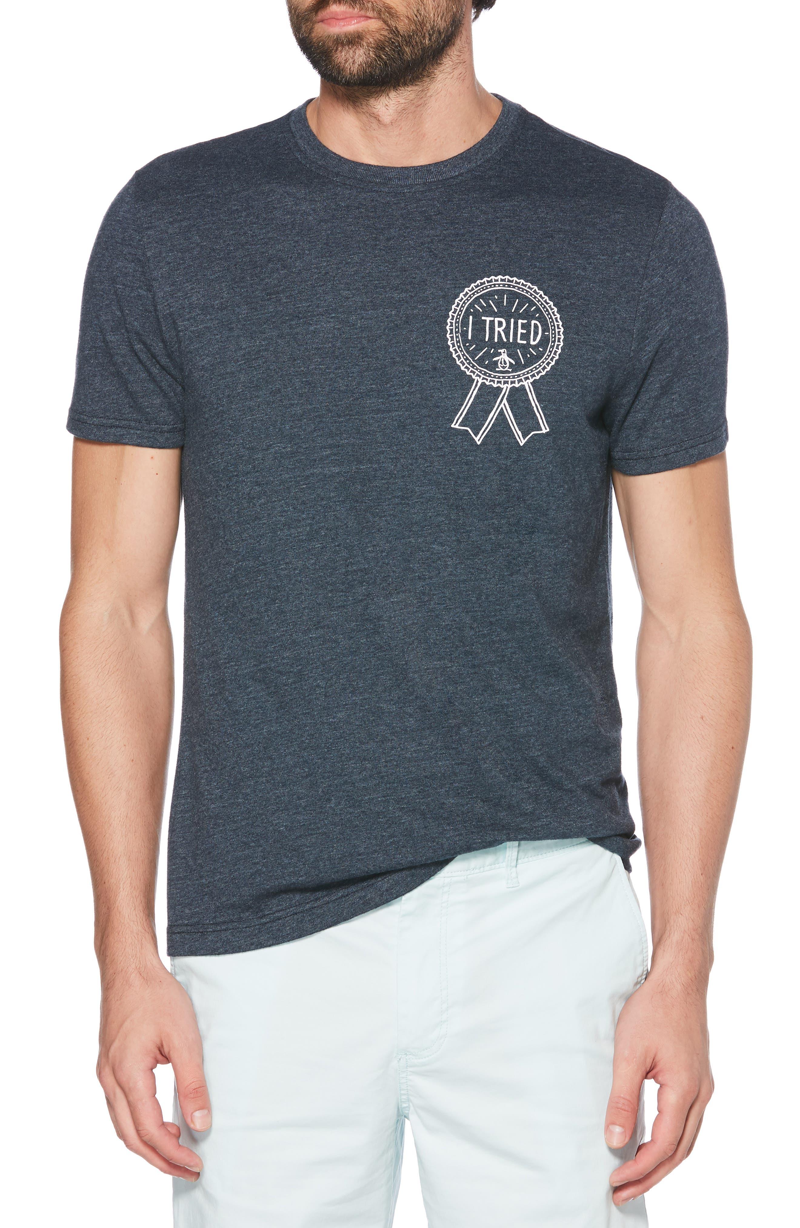 ORIGINAL PENGUIN I Tried T-Shirt, Main, color, DARK SAPPHIRE