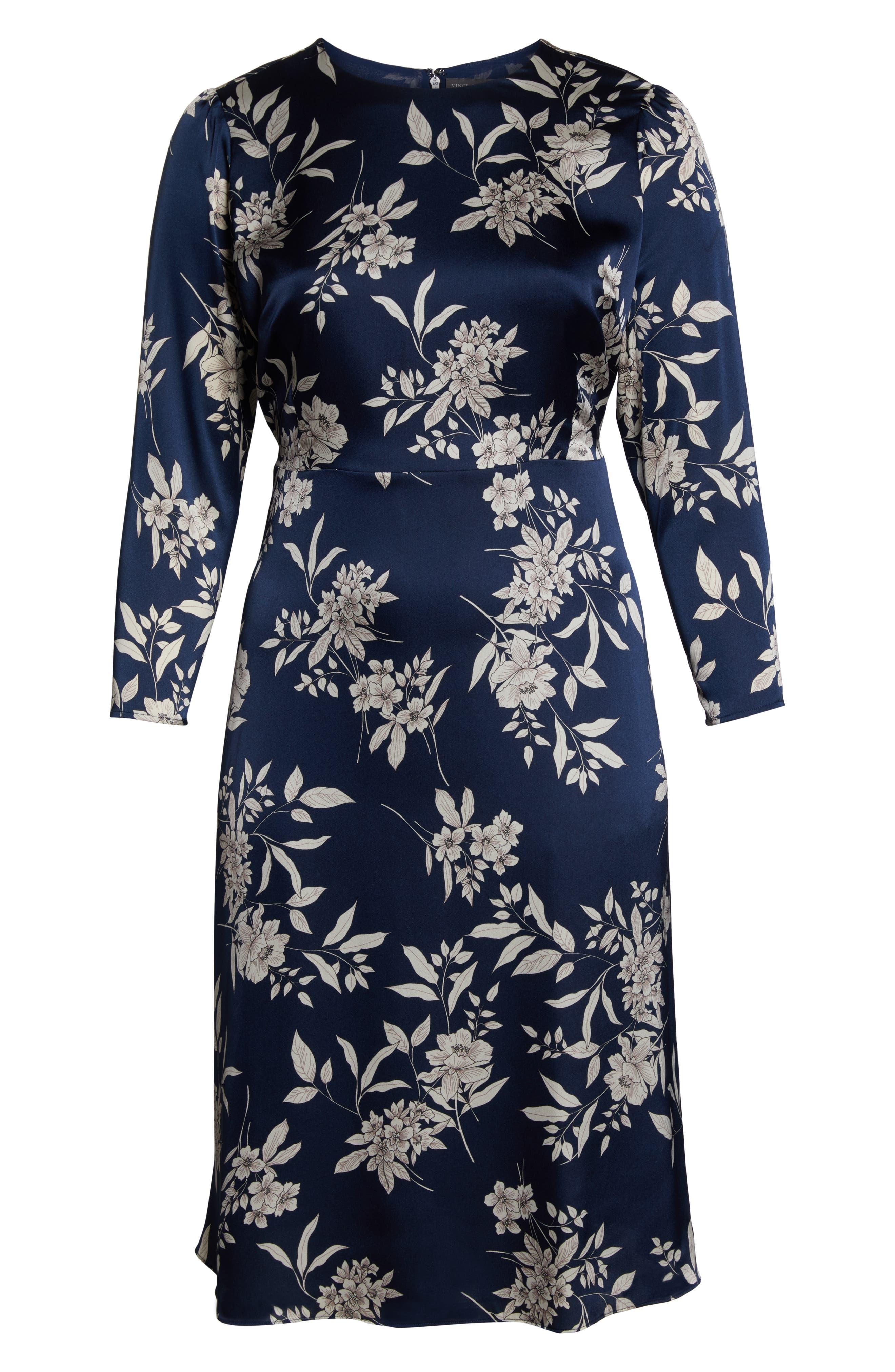 VINCE CAMUTO, Etched Bouquet Midi Dress, Alternate thumbnail 7, color, 400