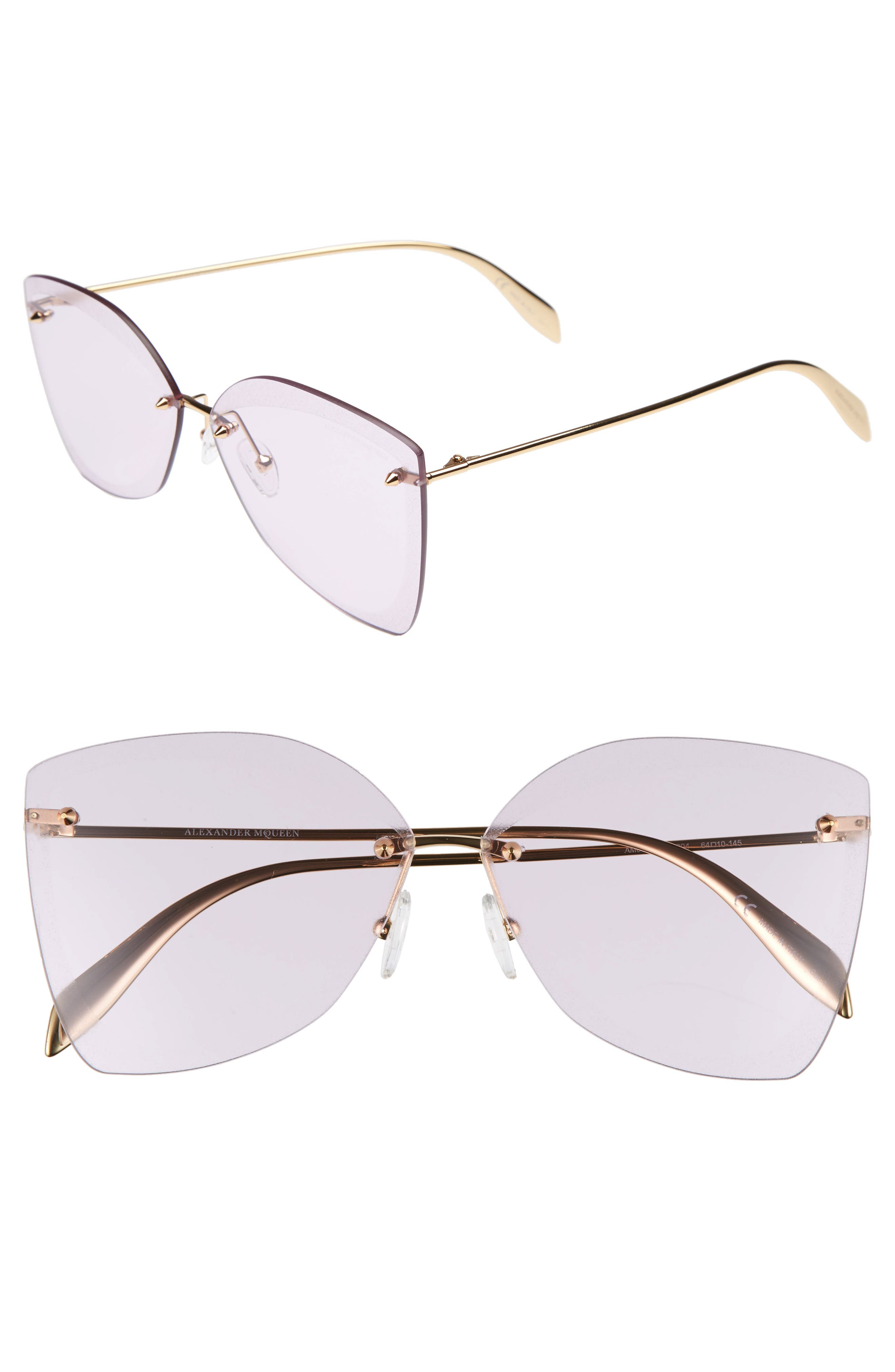 ALEXANDER MCQUEEN, 64mm Oversize Rimless Sunglasses, Main thumbnail 1, color, GOLD
