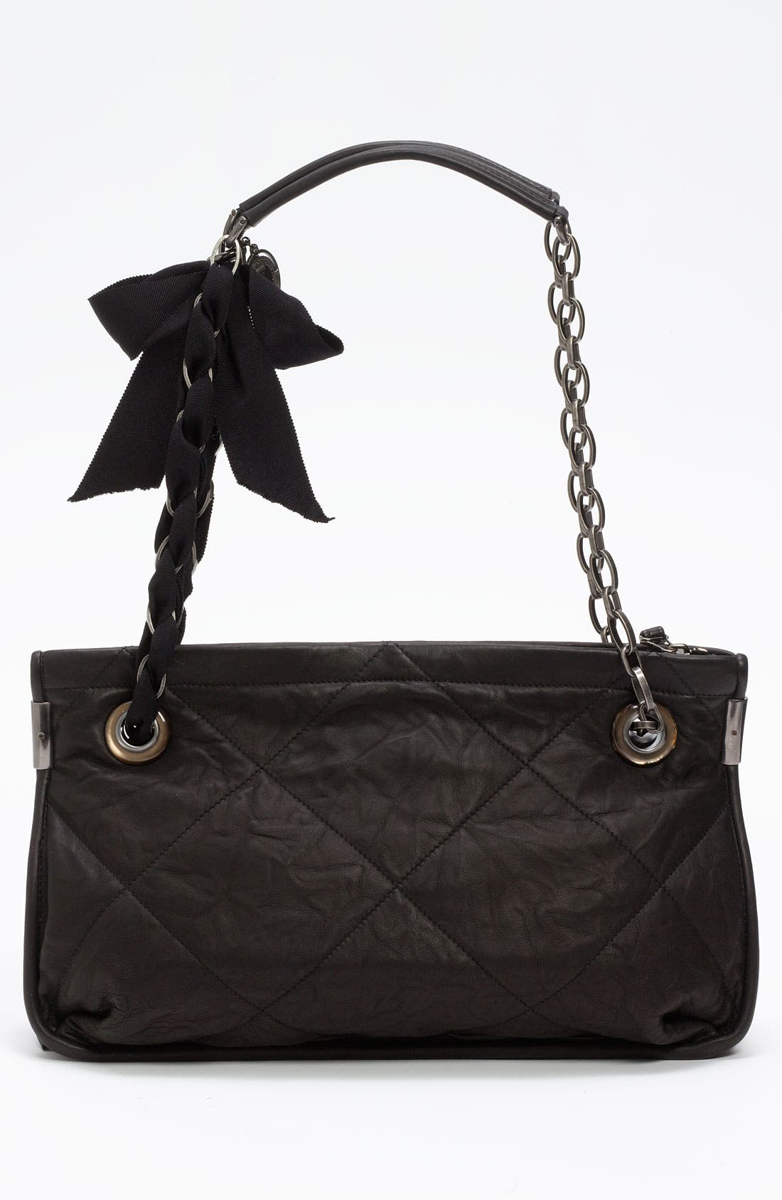 LANVIN, 'Amalia - Medium' Leather Shoulder Bag, Alternate thumbnail 4, color, 001