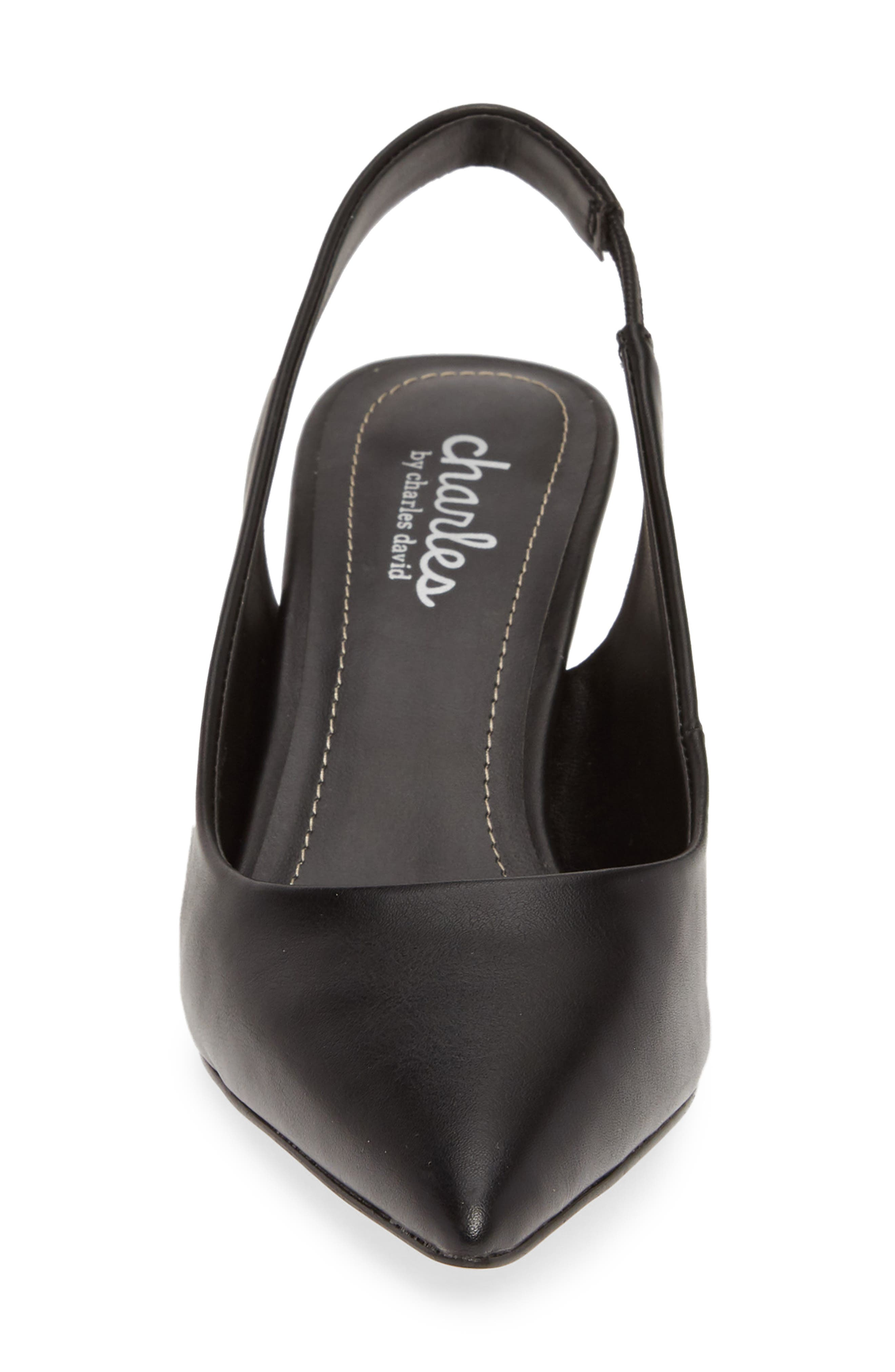 CHARLES BY CHARLES DAVID, Amy Slingback Pump, Alternate thumbnail 4, color, BLACK FAUX LEATHER