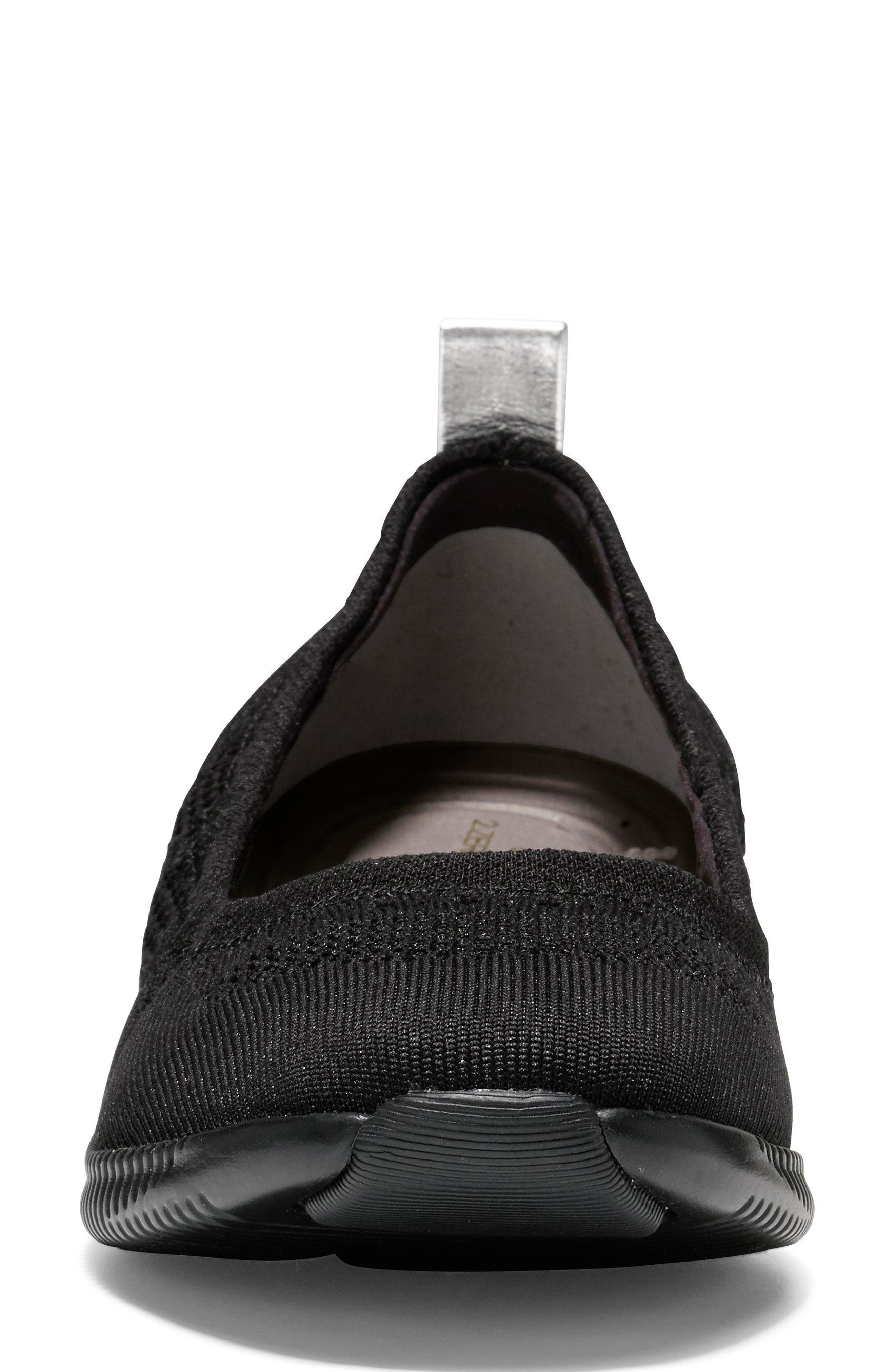 COLE HAAN, 2.ZERØGRAND Stitchlite Ballet Flat, Alternate thumbnail 4, color, BLACK FABRIC