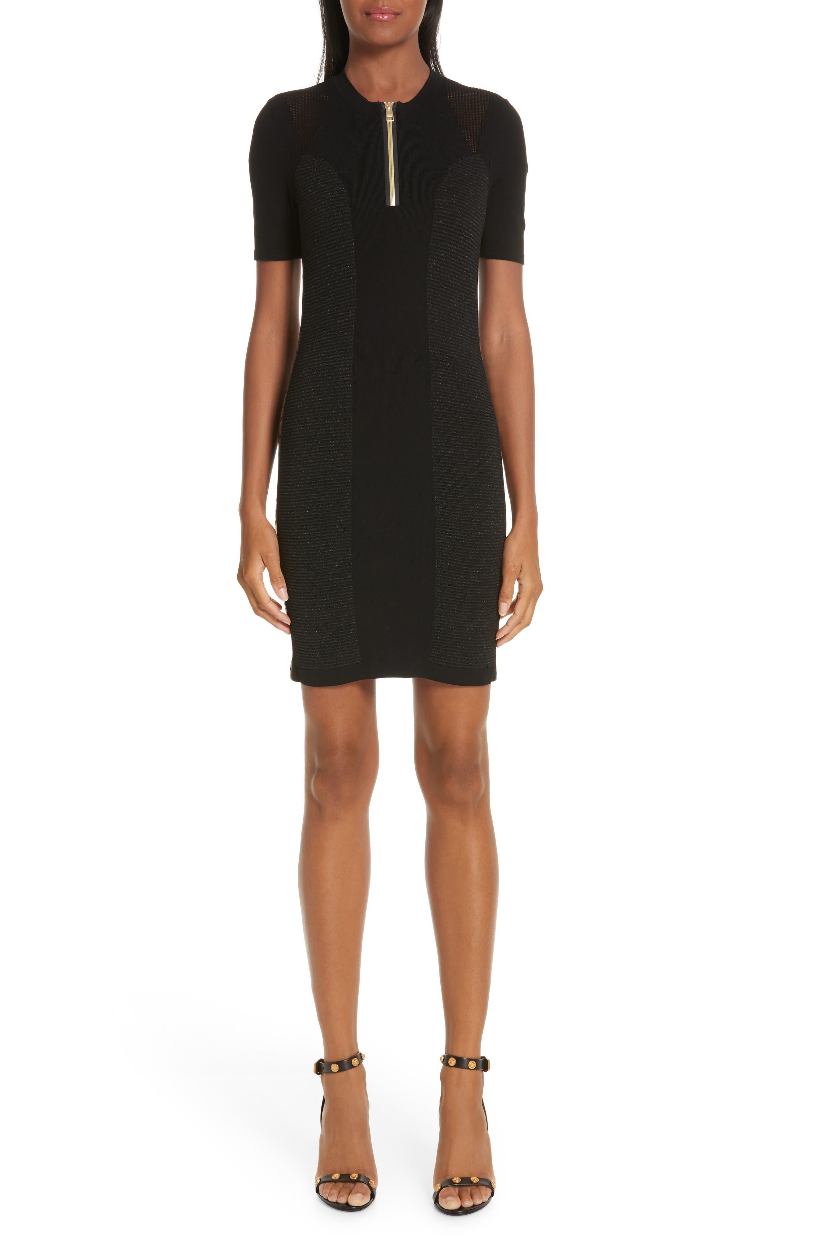 VERSACE COLLECTION Logo Trim Body-Con Dress, Main, color, BLACK