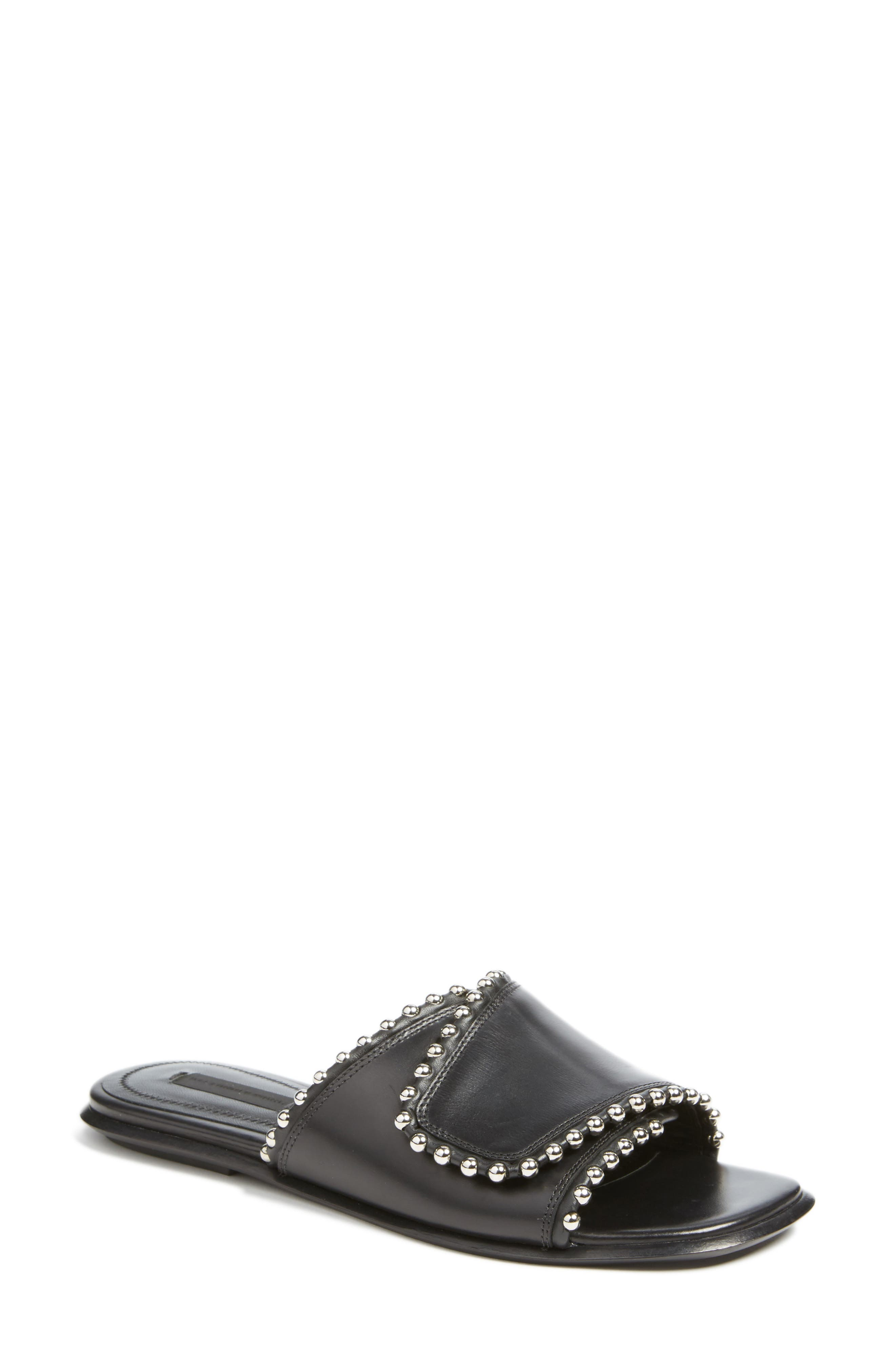 ALEXANDER WANG, Leidy Slide Sandal, Main thumbnail 1, color, 001