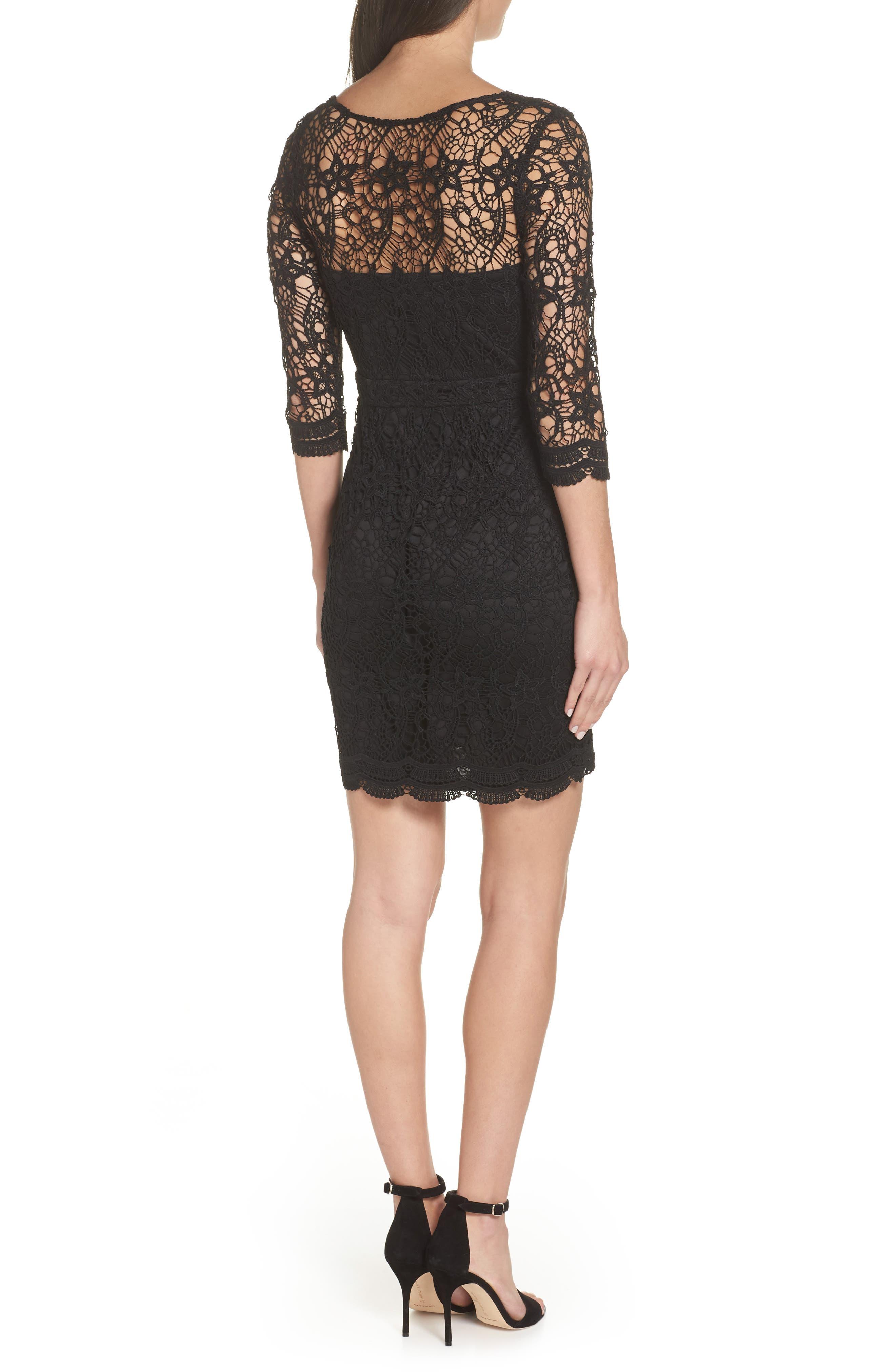 LULUS, Lace Cocktail Dress, Alternate thumbnail 2, color, BLACK