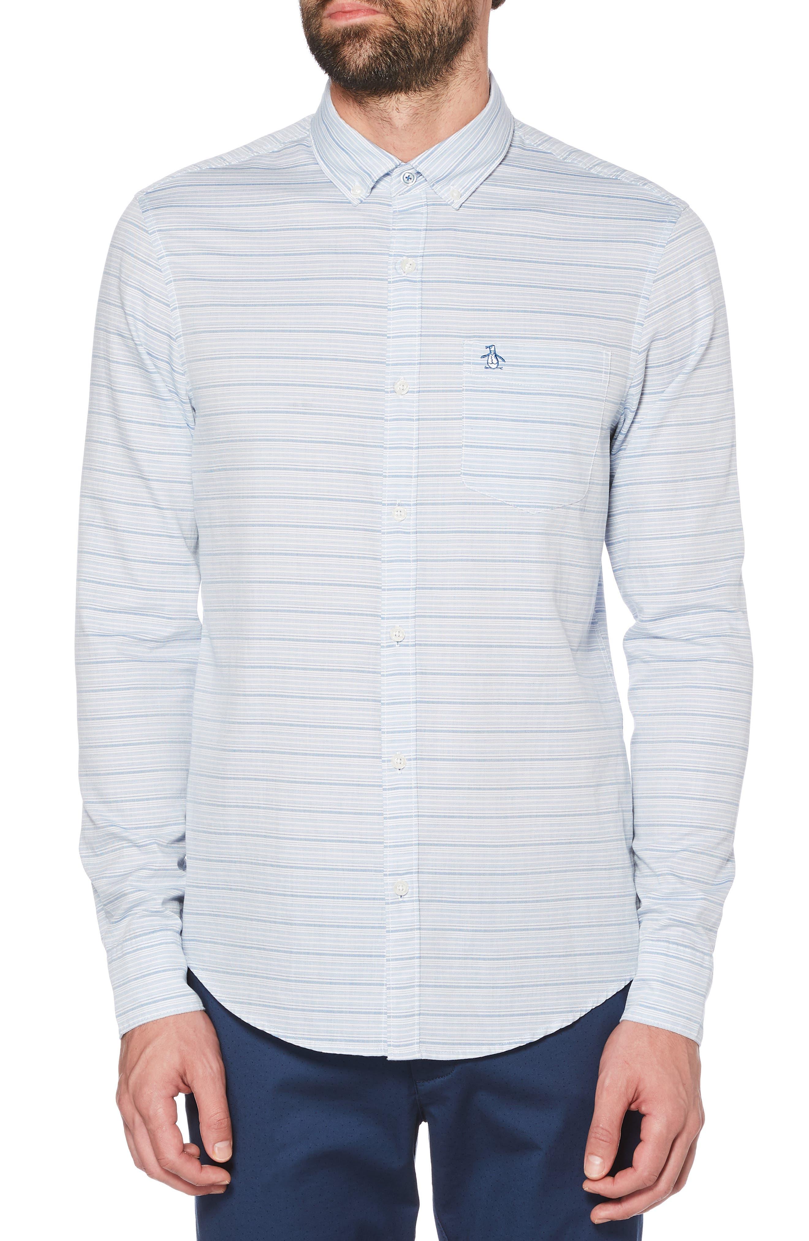 ORIGINAL PENGUIN, Slim Fit Dobby Sport Shirt, Main thumbnail 1, color, BRIGHT WHITE