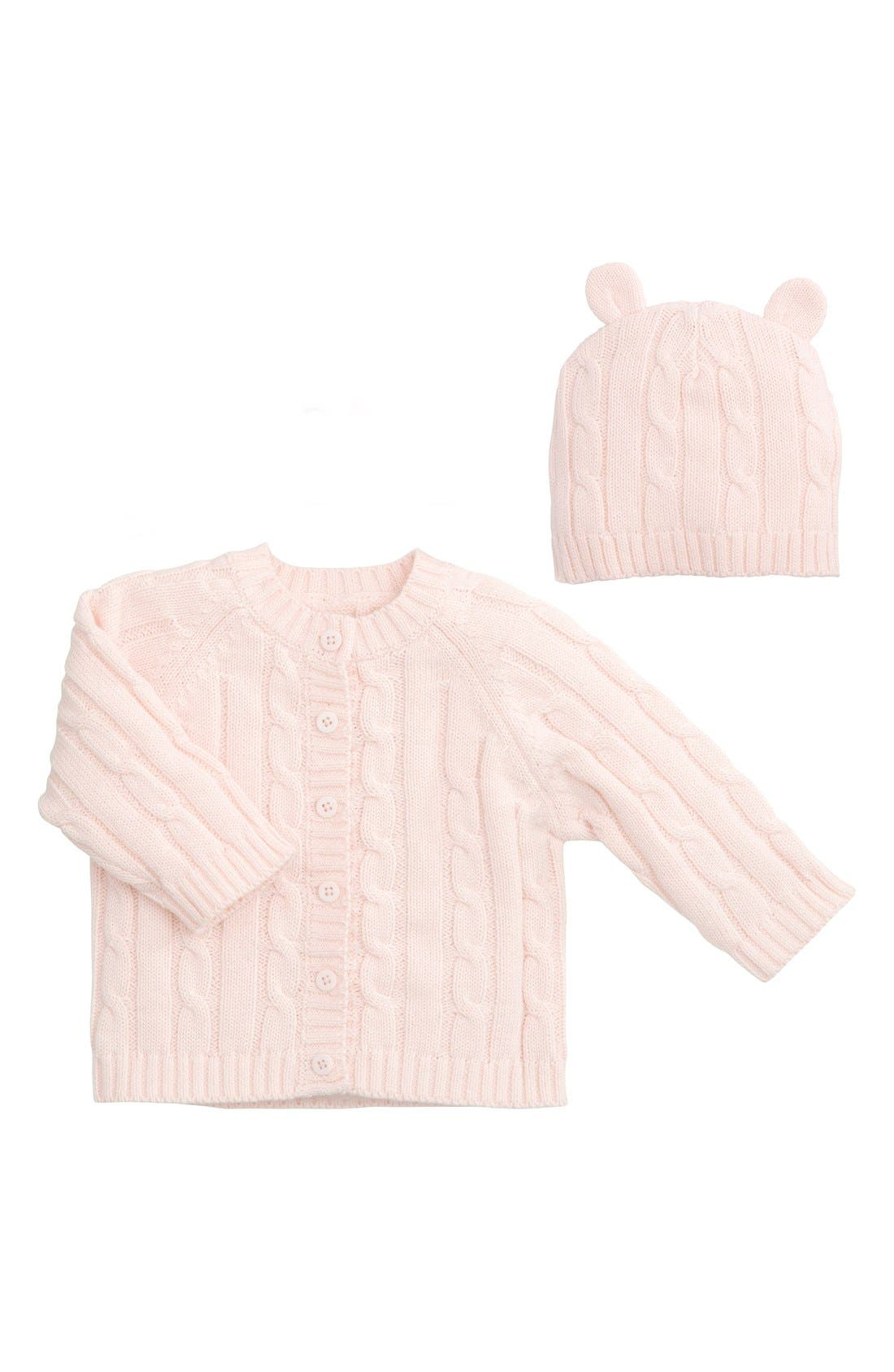 ELEGANT BABY Cable Knit Sweater & Hat Set, Main, color, LIGHT PINK