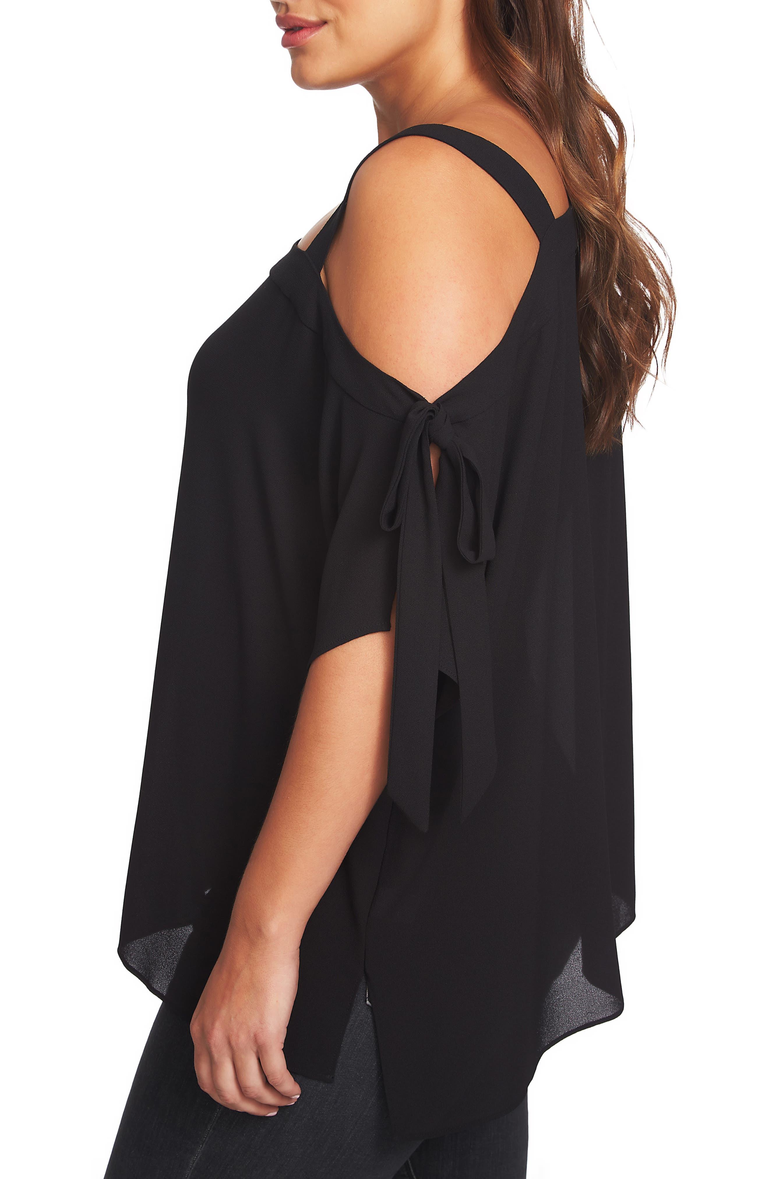 1.STATE, One-Shoulder Tie Sleeve Blouse, Alternate thumbnail 3, color, RICH BLACK