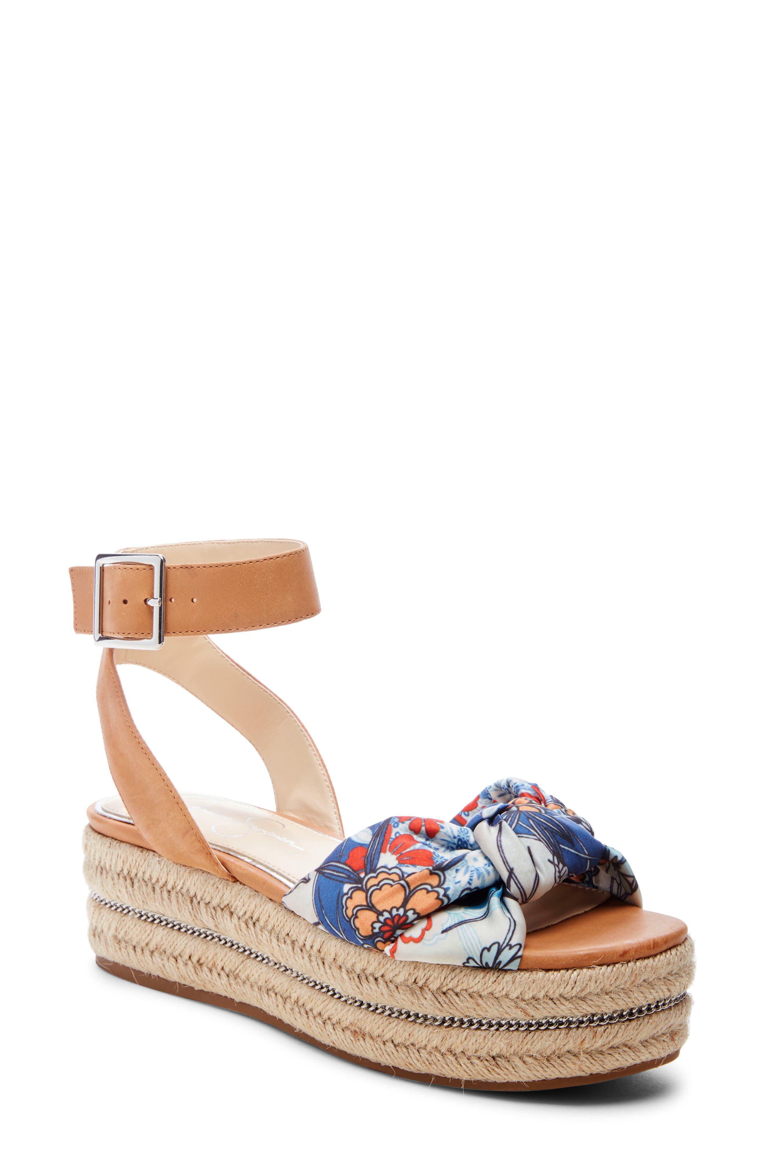 Jessica Simpson Aprille Platform Ankle Strap Sandal, Blue