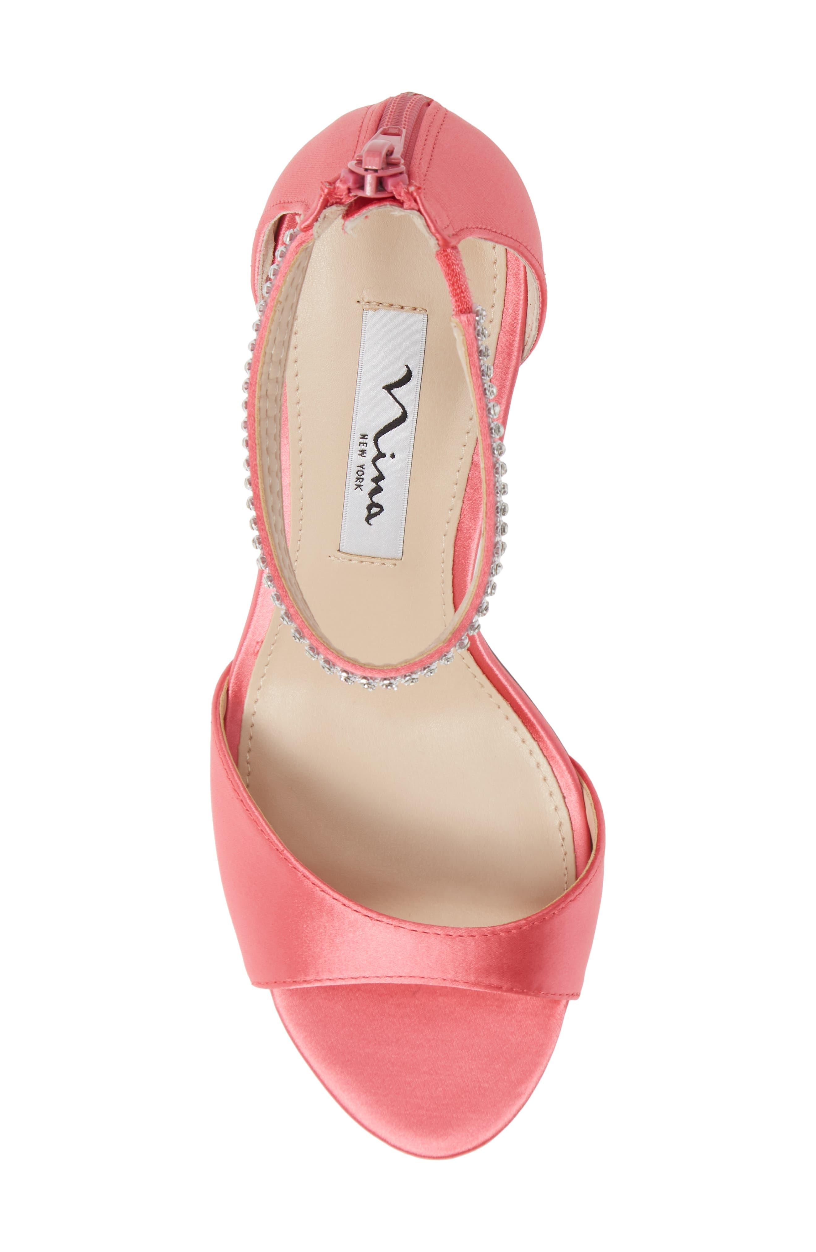 NINA, Volanda Ankle Strap Sandal, Alternate thumbnail 5, color, STRAWBERRY PUNCH SATIN