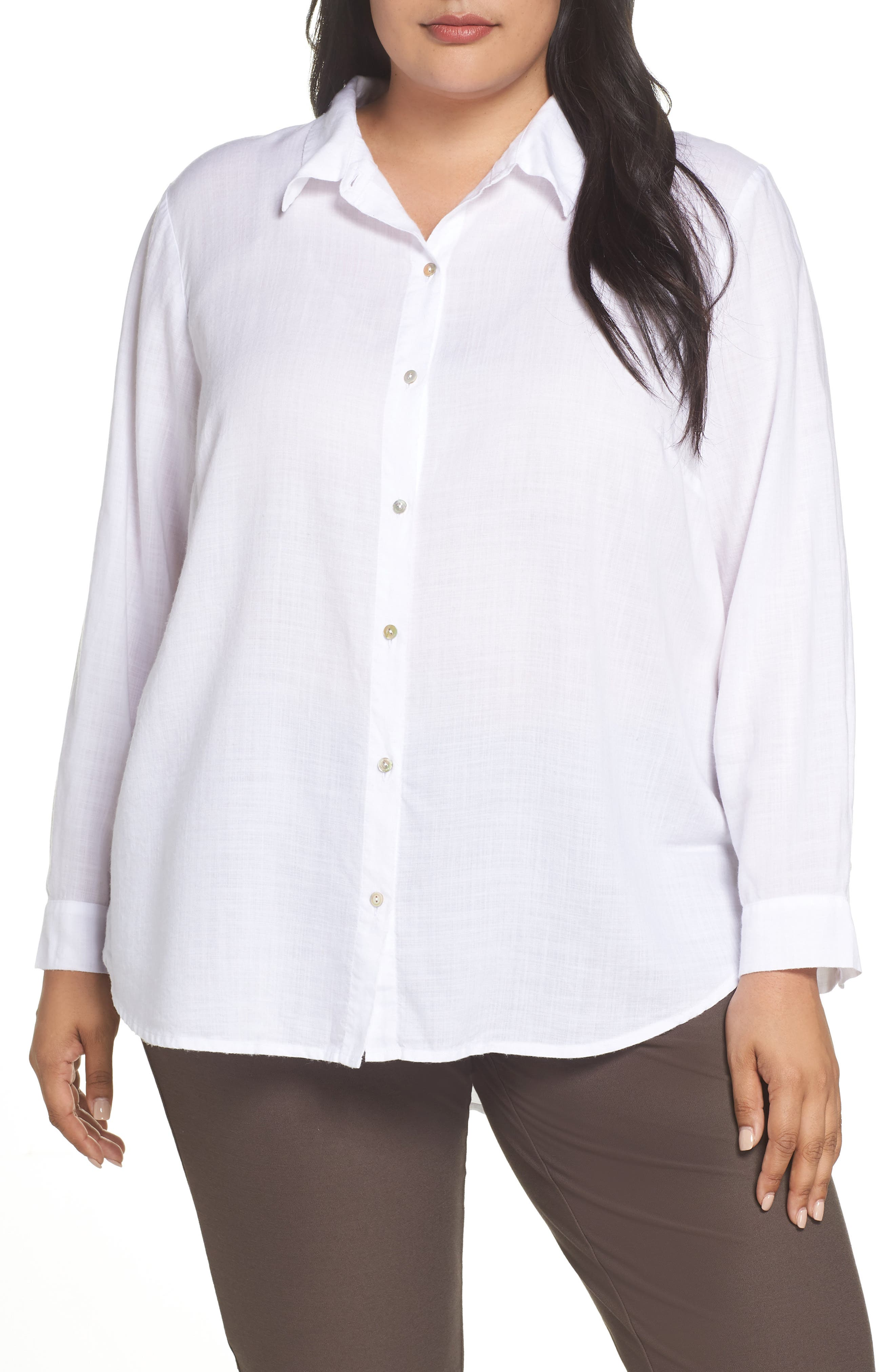 EILEEN FISHER, Tencel<sup>®</sup> Lyocell Shirt, Main thumbnail 1, color, WHITE