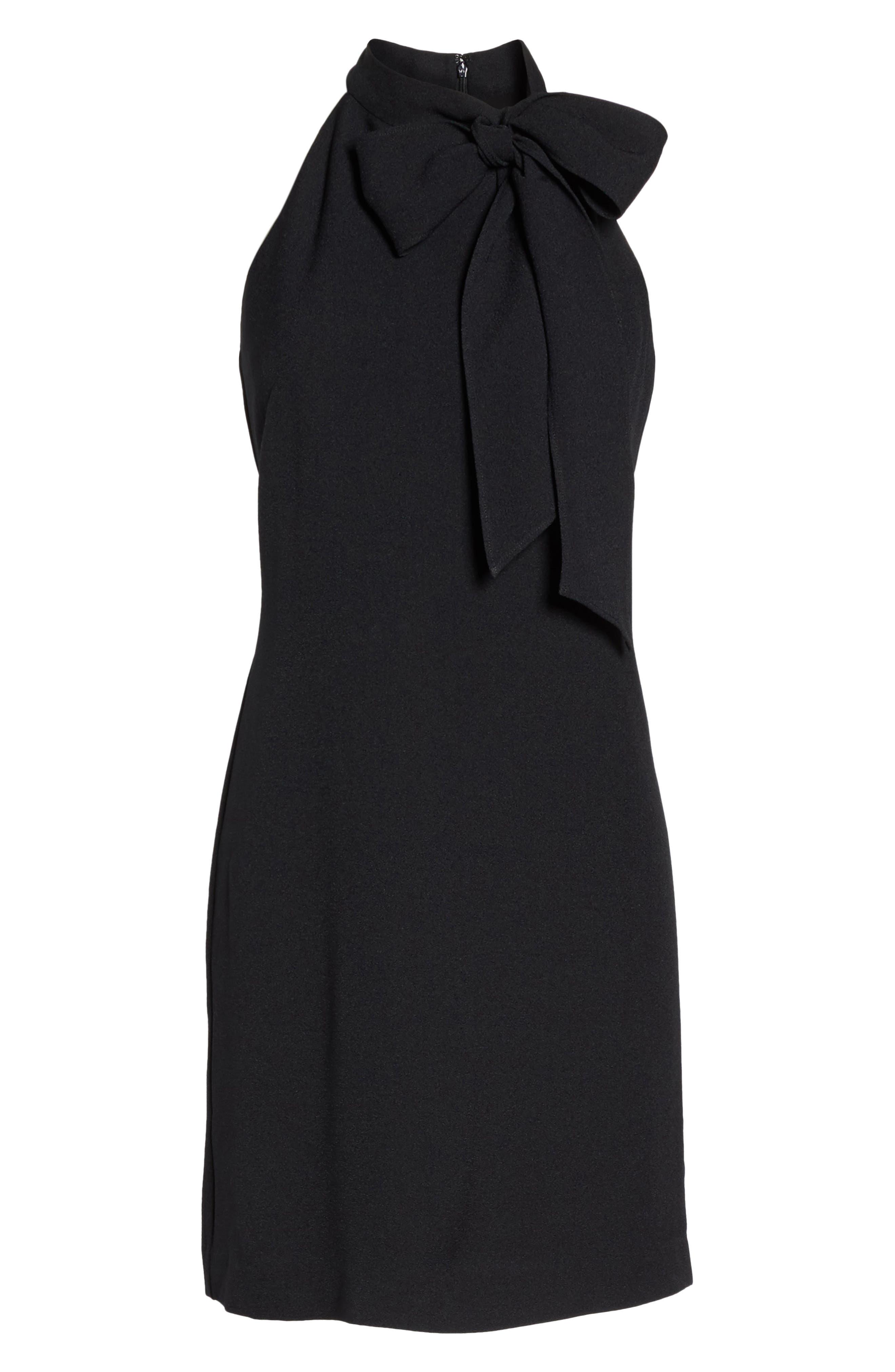 VINCE CAMUTO, Halter Tie Neck A-Line Dress, Alternate thumbnail 8, color, 001