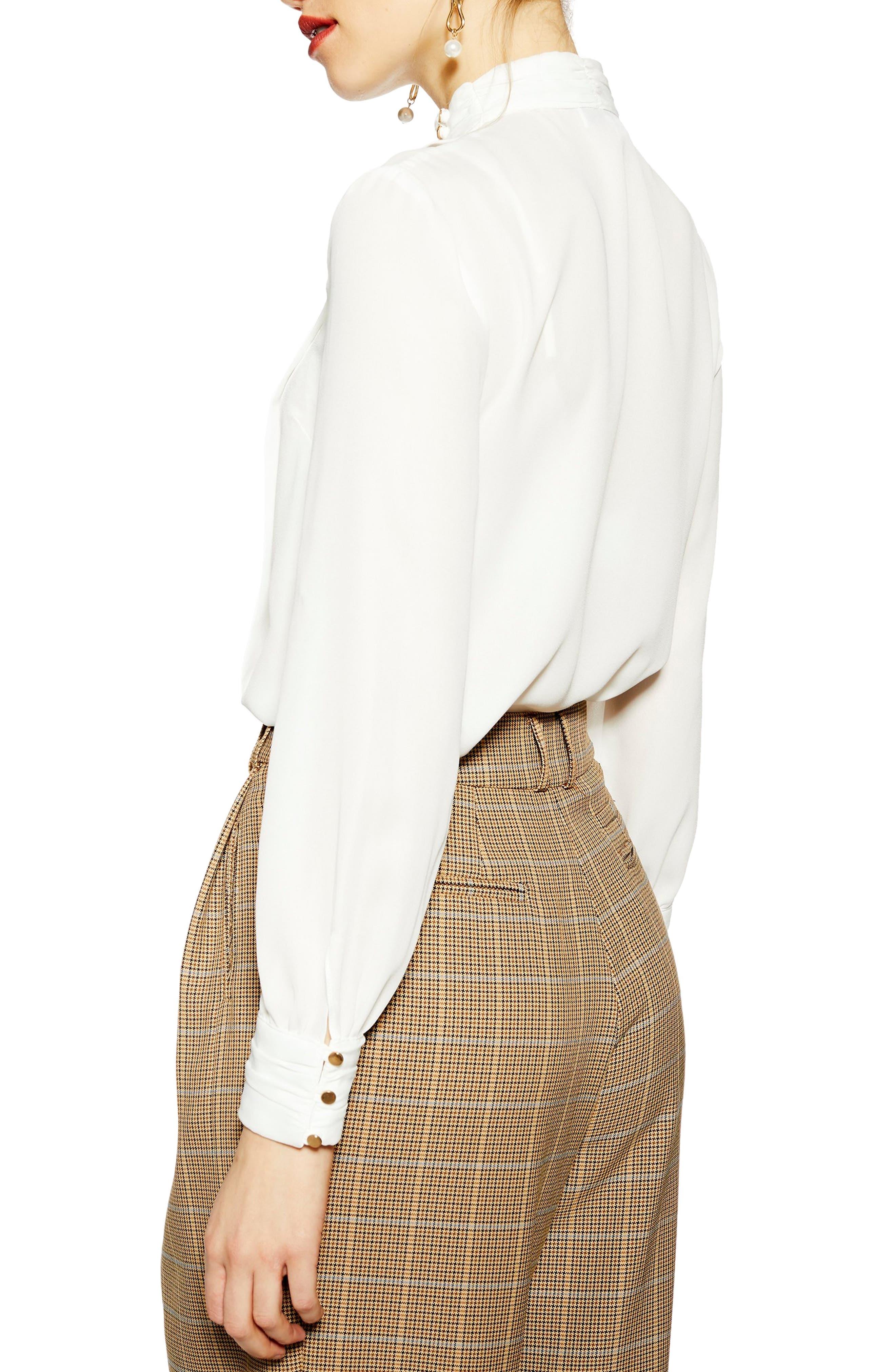 TOPSHOP, Pleat Button Neck Shirt, Alternate thumbnail 2, color, 900