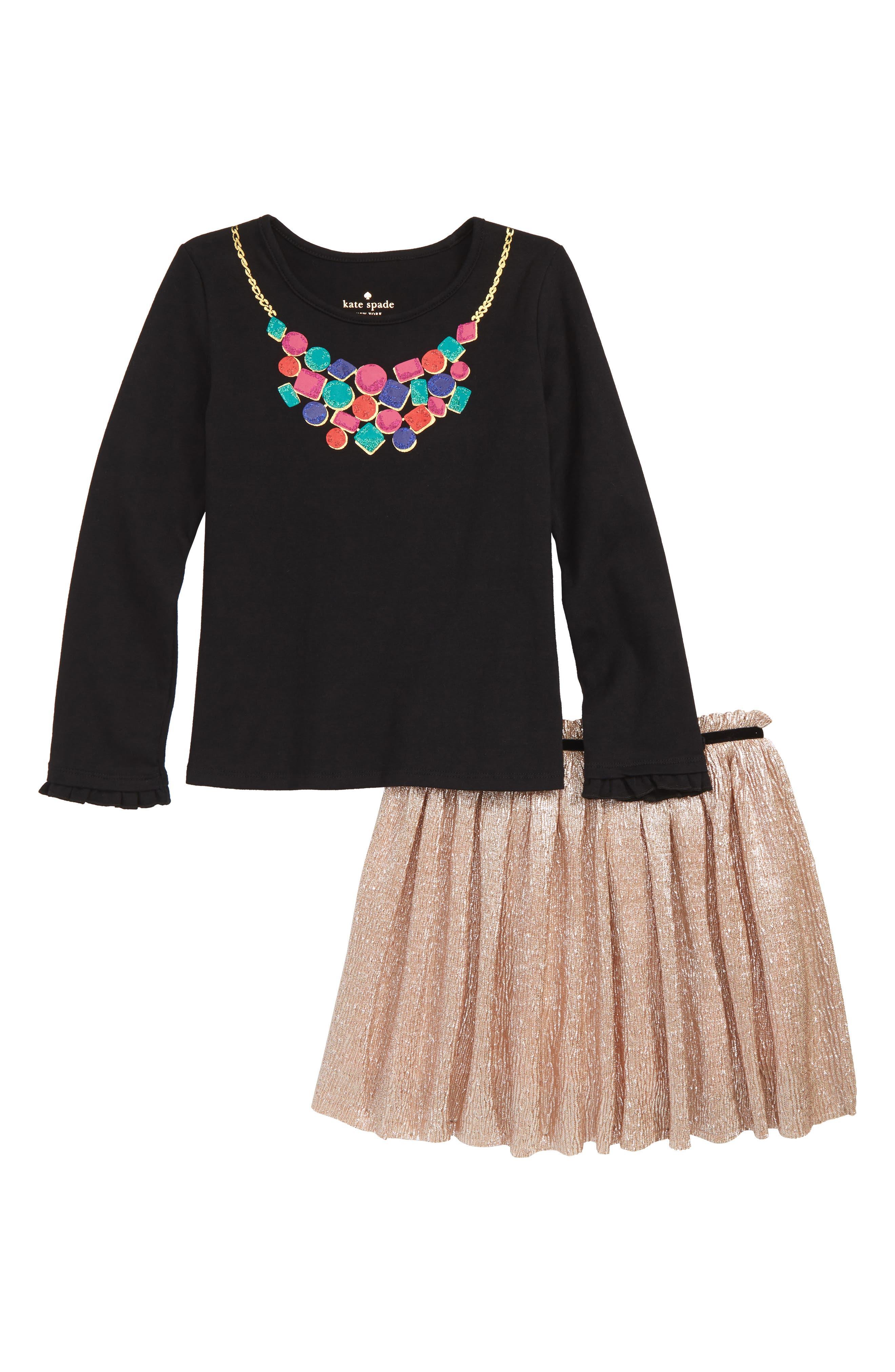 KATE SPADE NEW YORK, metallic knit skirt set, Main thumbnail 1, color, 001