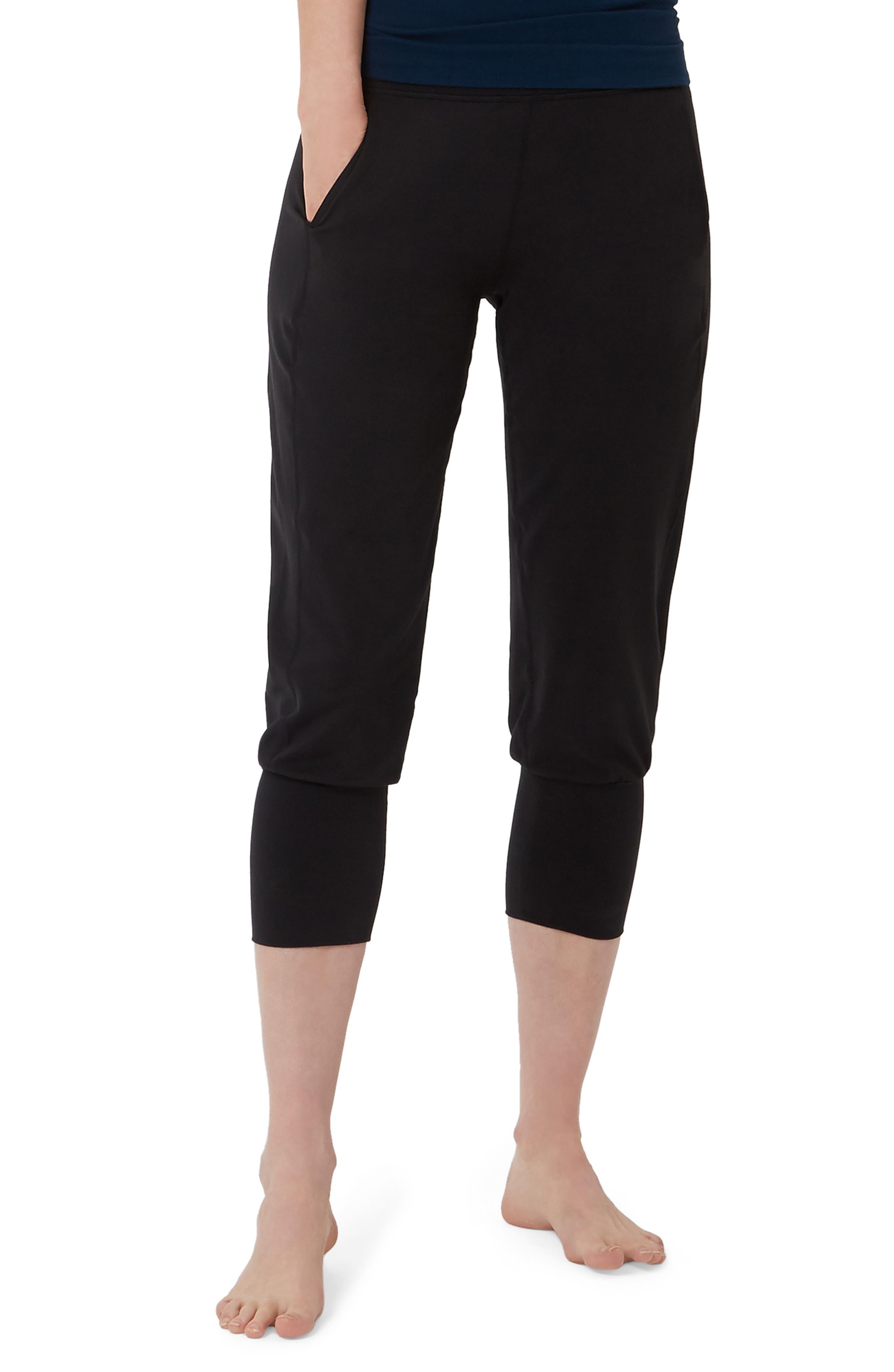 SWEATY BETTY, Garudasana Crop Yoga Trousers, Main thumbnail 1, color, BLACK