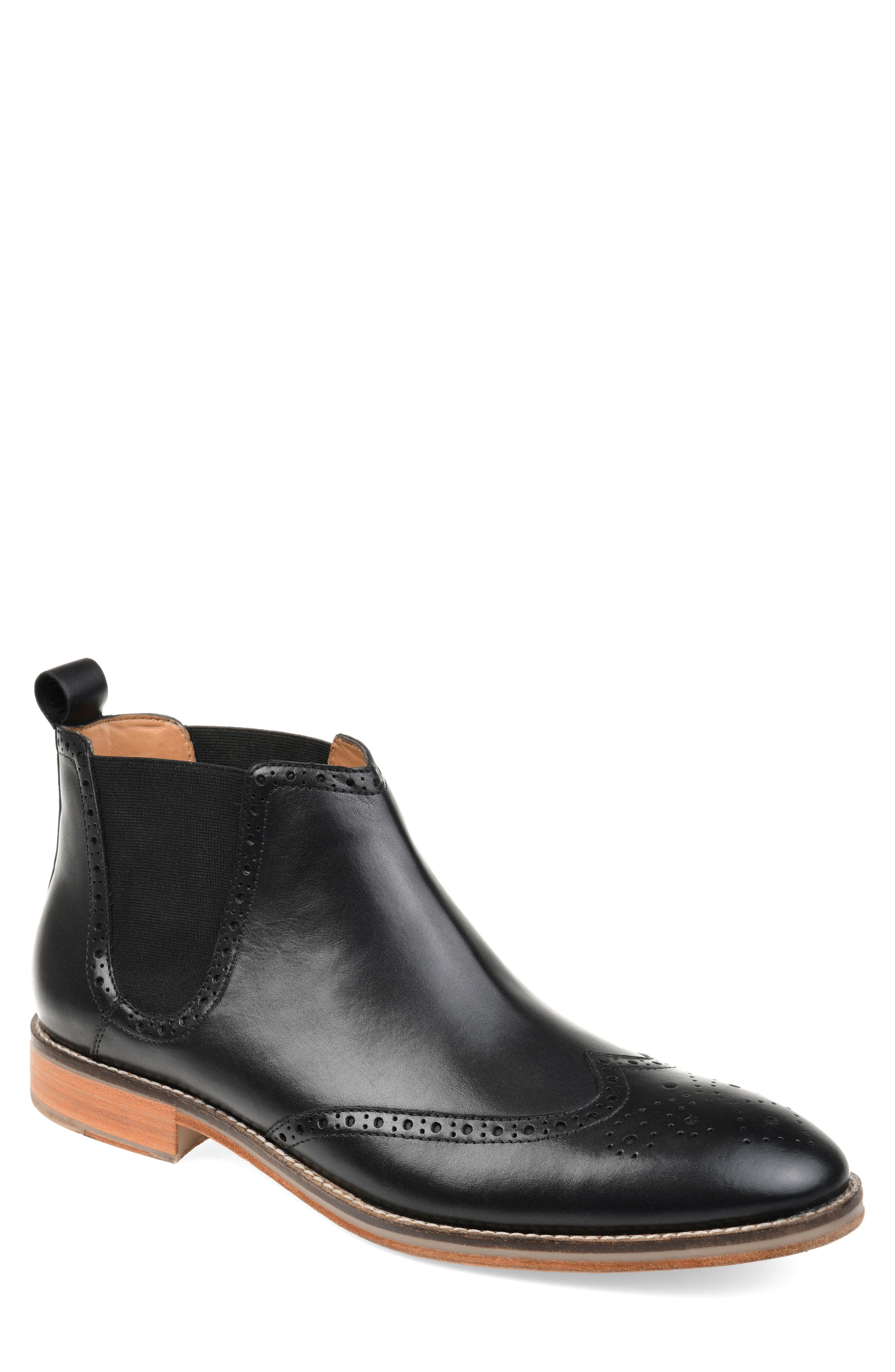 THOMAS AND VINE, Thorne Wingtip Chelsea Boot, Main thumbnail 1, color, BLACK LEATHER