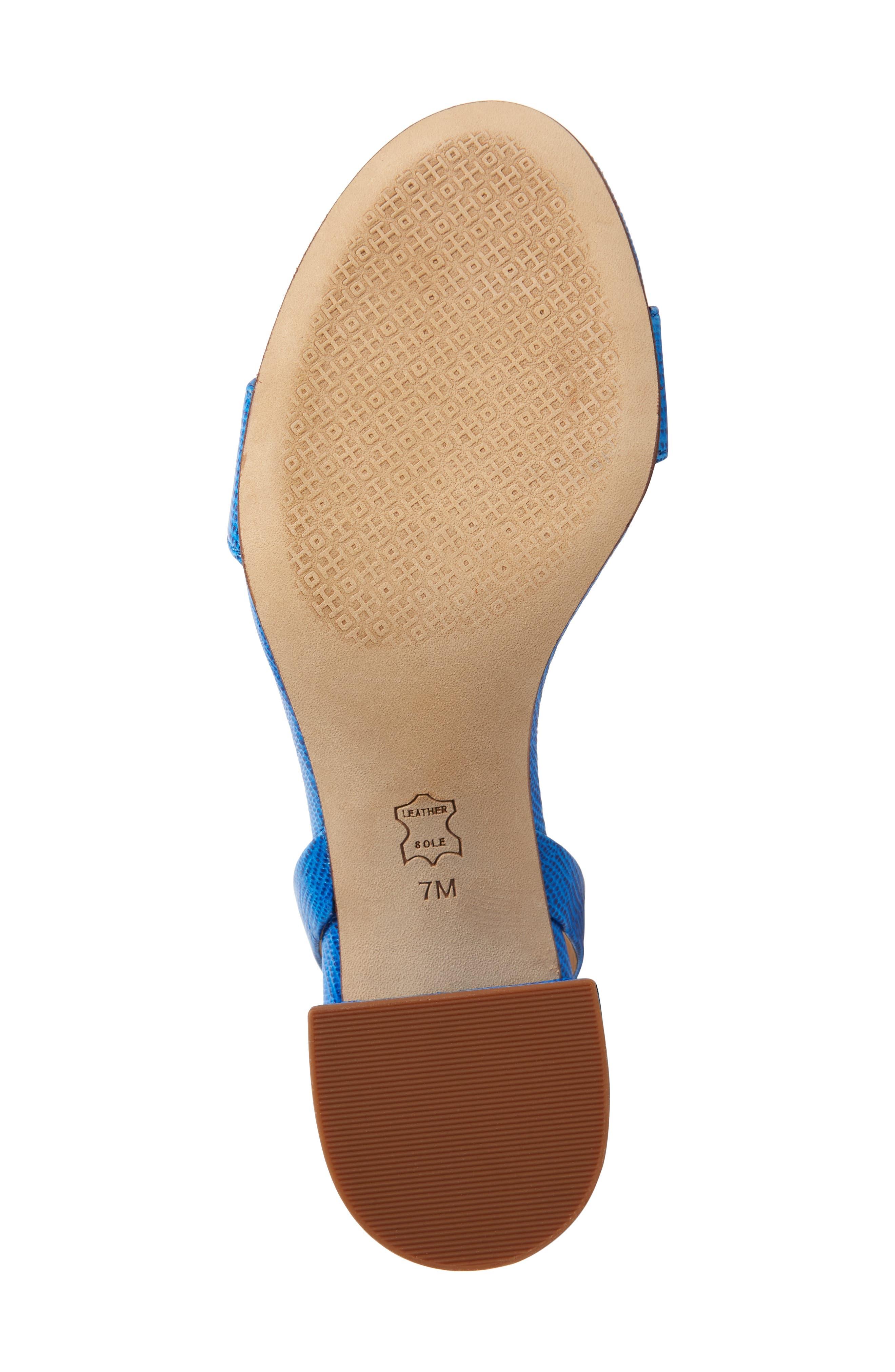 TORY BURCH, Kira Block Heel Sandal, Alternate thumbnail 6, color, BRIGHT TROPICAL BLUE