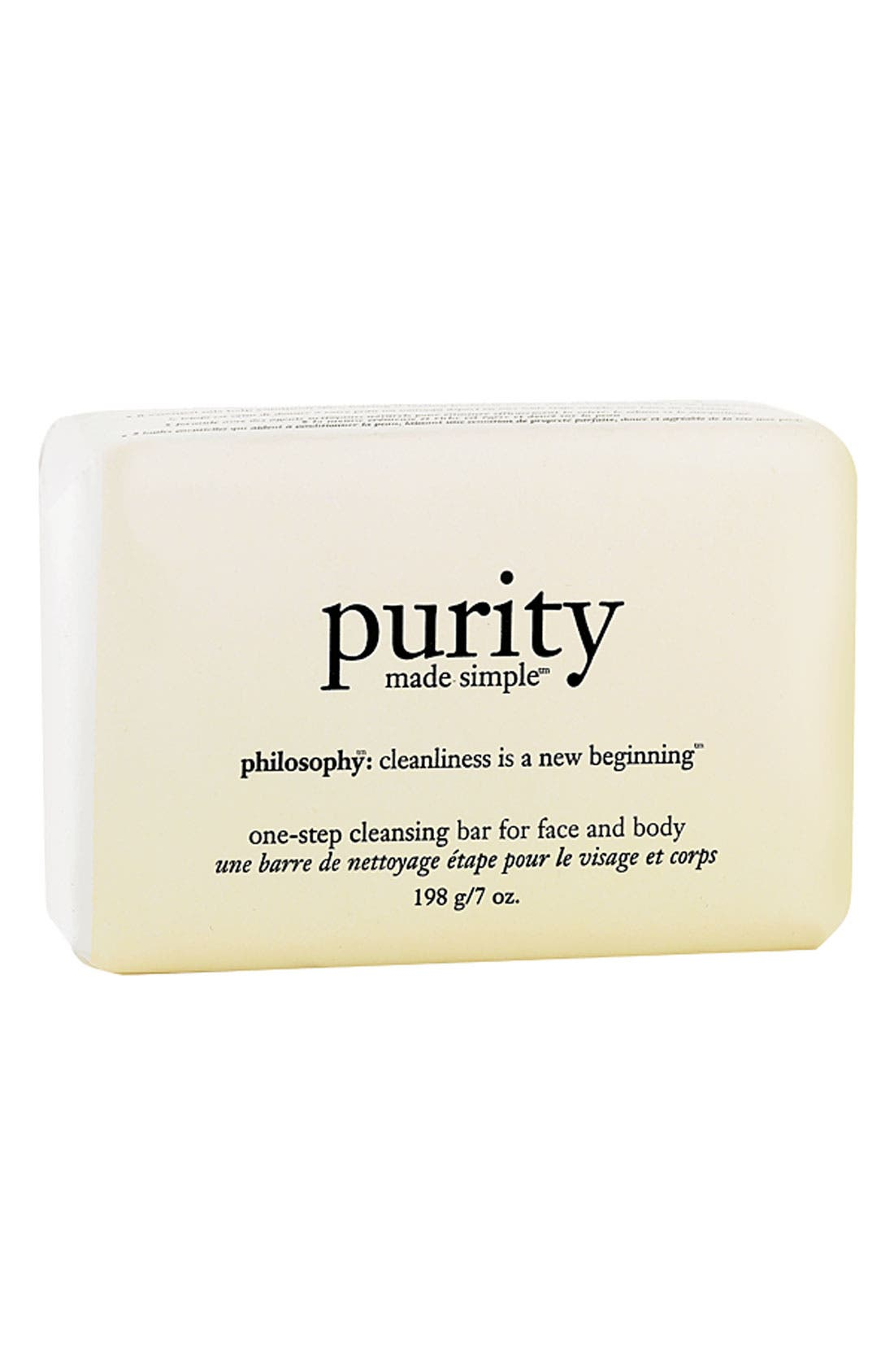 PHILOSOPHY, 'purity made simple' one-step cleansing bar for face and body, Main thumbnail 1, color, 000