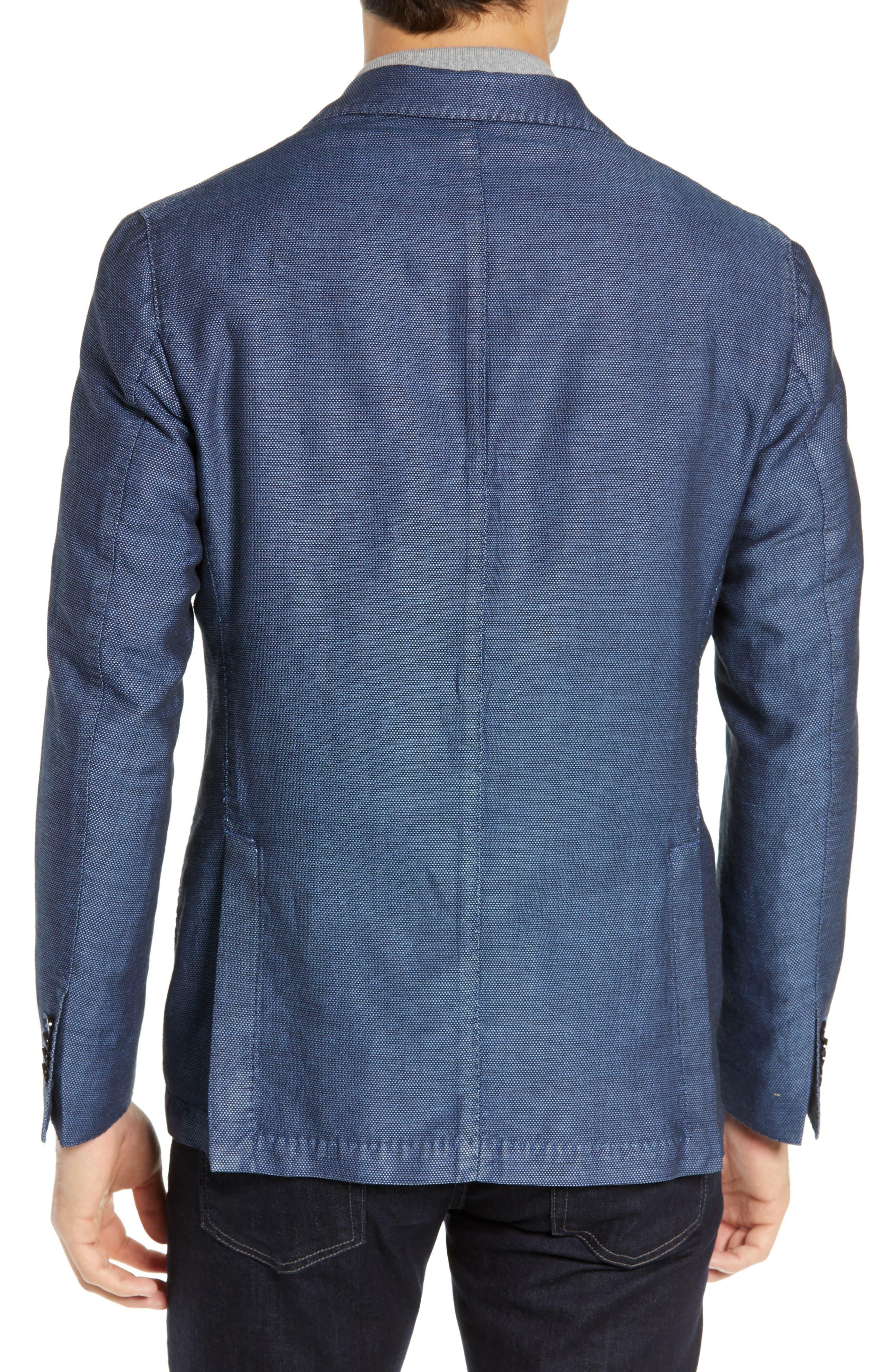 L.B.M. 1911, Slim Fit Solid Linen & Cotton Sport Coat, Alternate thumbnail 2, color, NAVY