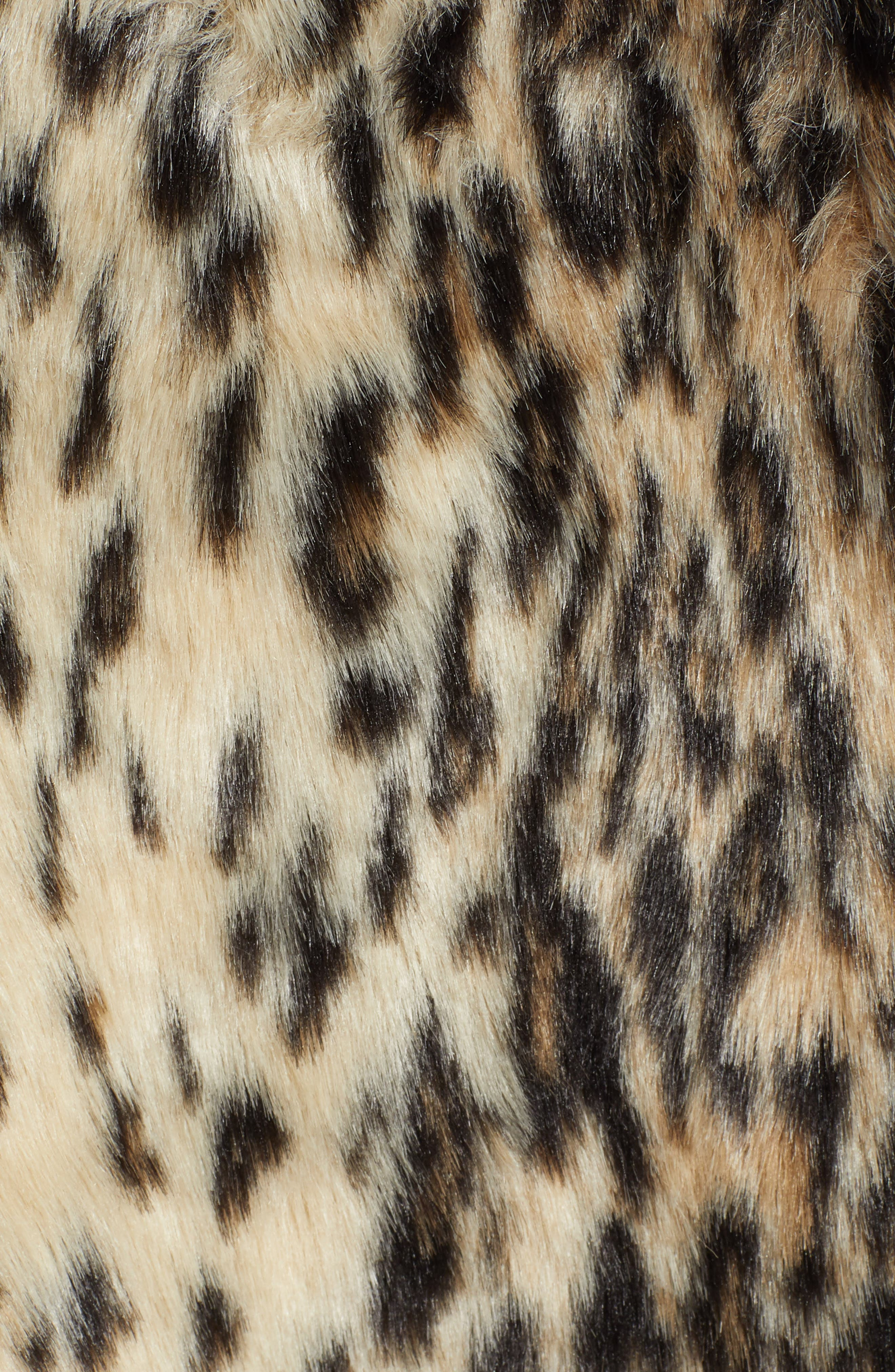 CUPCAKES AND CASHMERE, Leopard Faux Fur Coat, Alternate thumbnail 7, color, 009