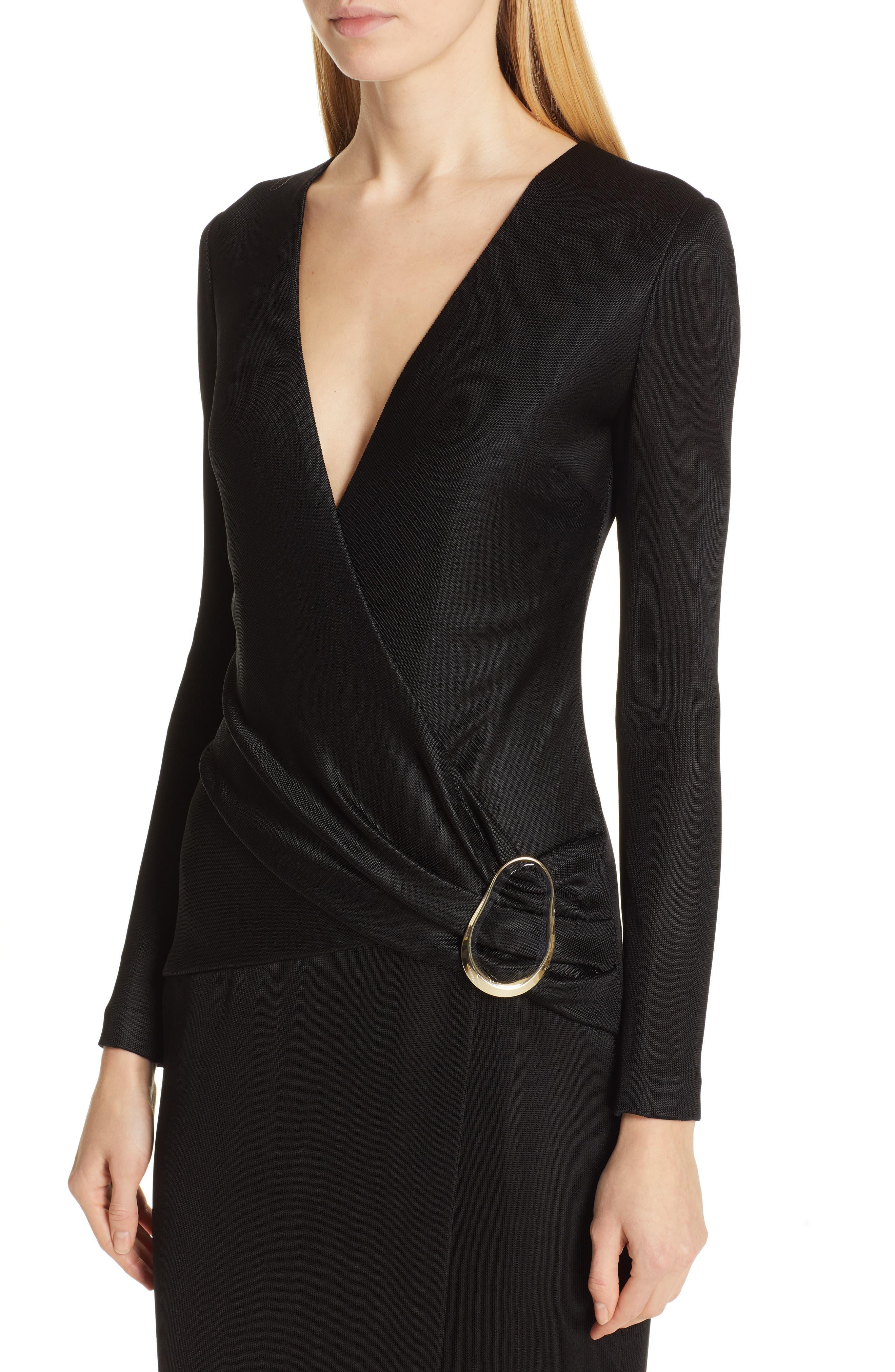 CUSHNIE, Sahara Pencil Dress, Alternate thumbnail 5, color, BLACK
