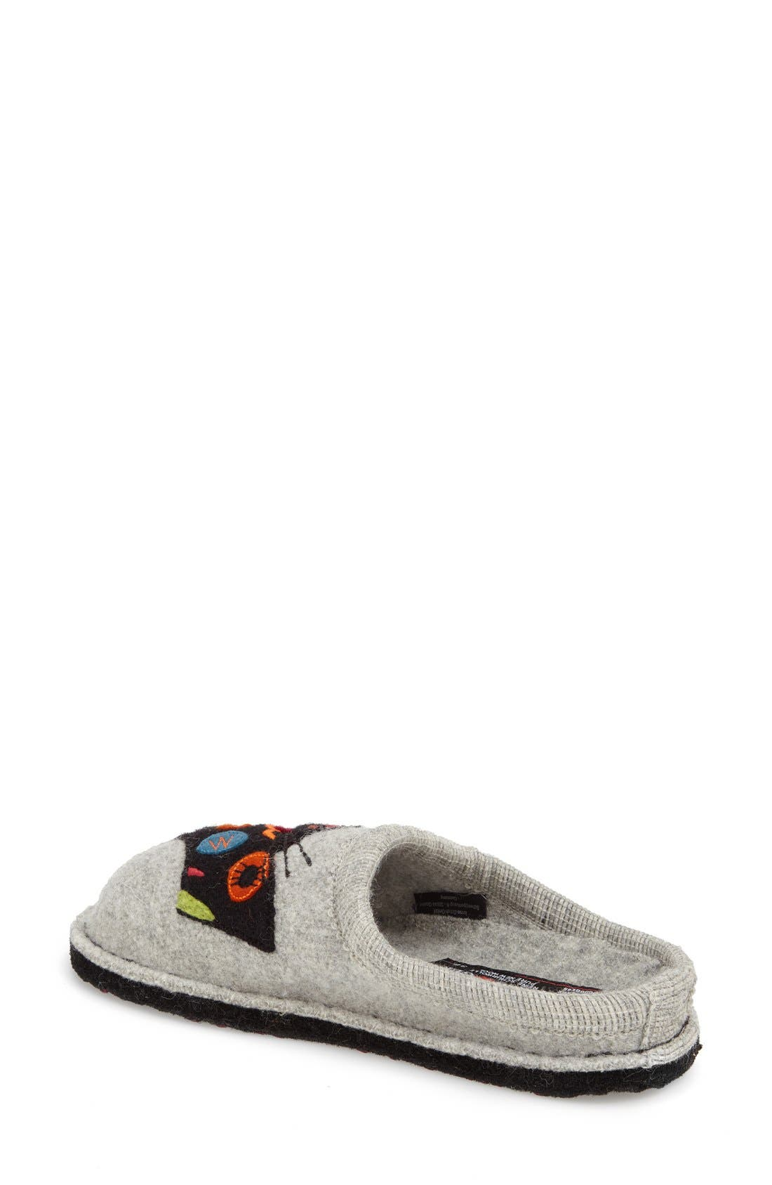 HAFLINGER, 'Cat' Slipper, Alternate thumbnail 3, color, GREY WOOL